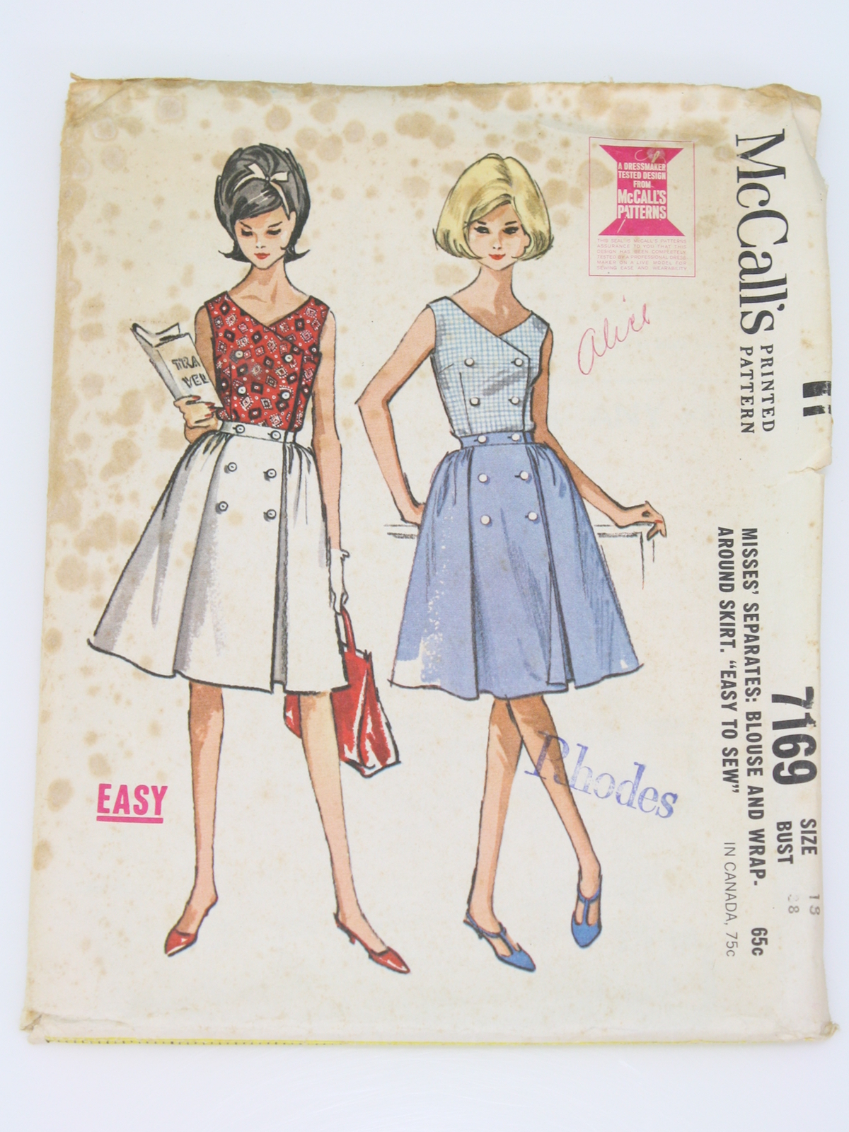 front tie Mccall skirt pattern