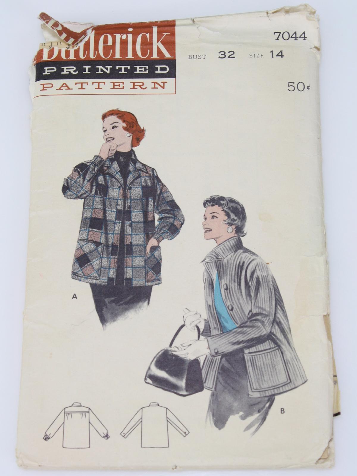 1960's Butterick Pattern No  7044 Womens Pattern