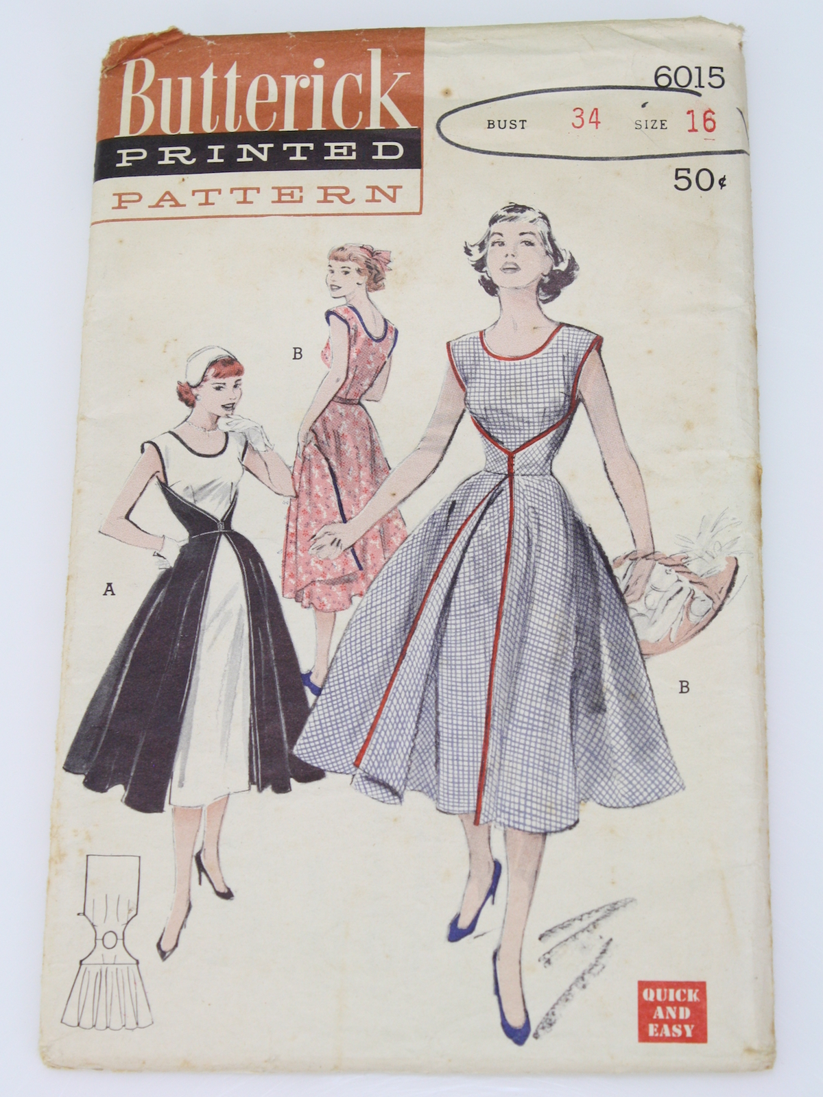 Butterick Pattern No 6015 Fifties Vintage Sewing Pattern