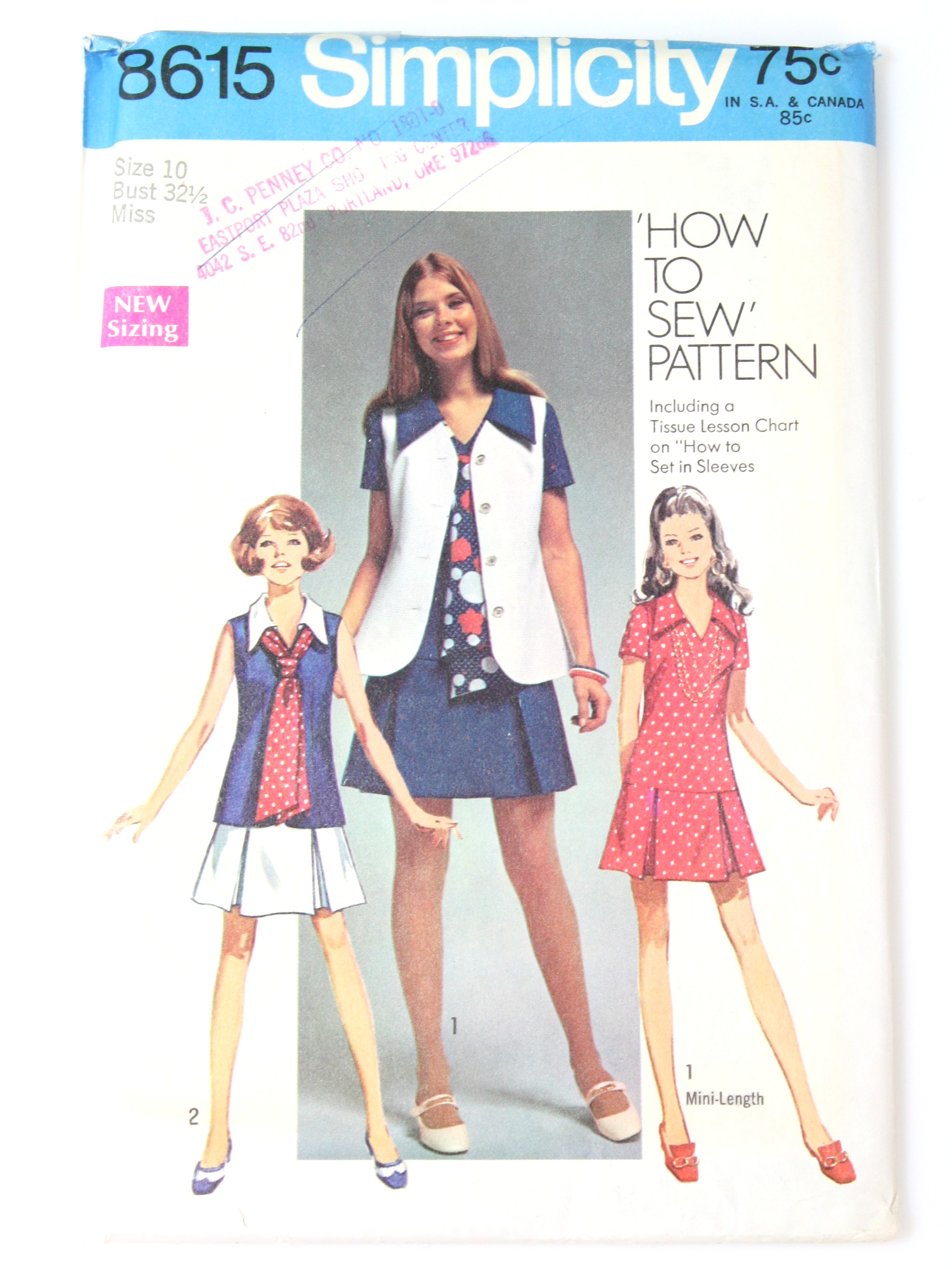 1960 S Sewing Pattern Simplicity Pattern No 8615 70s