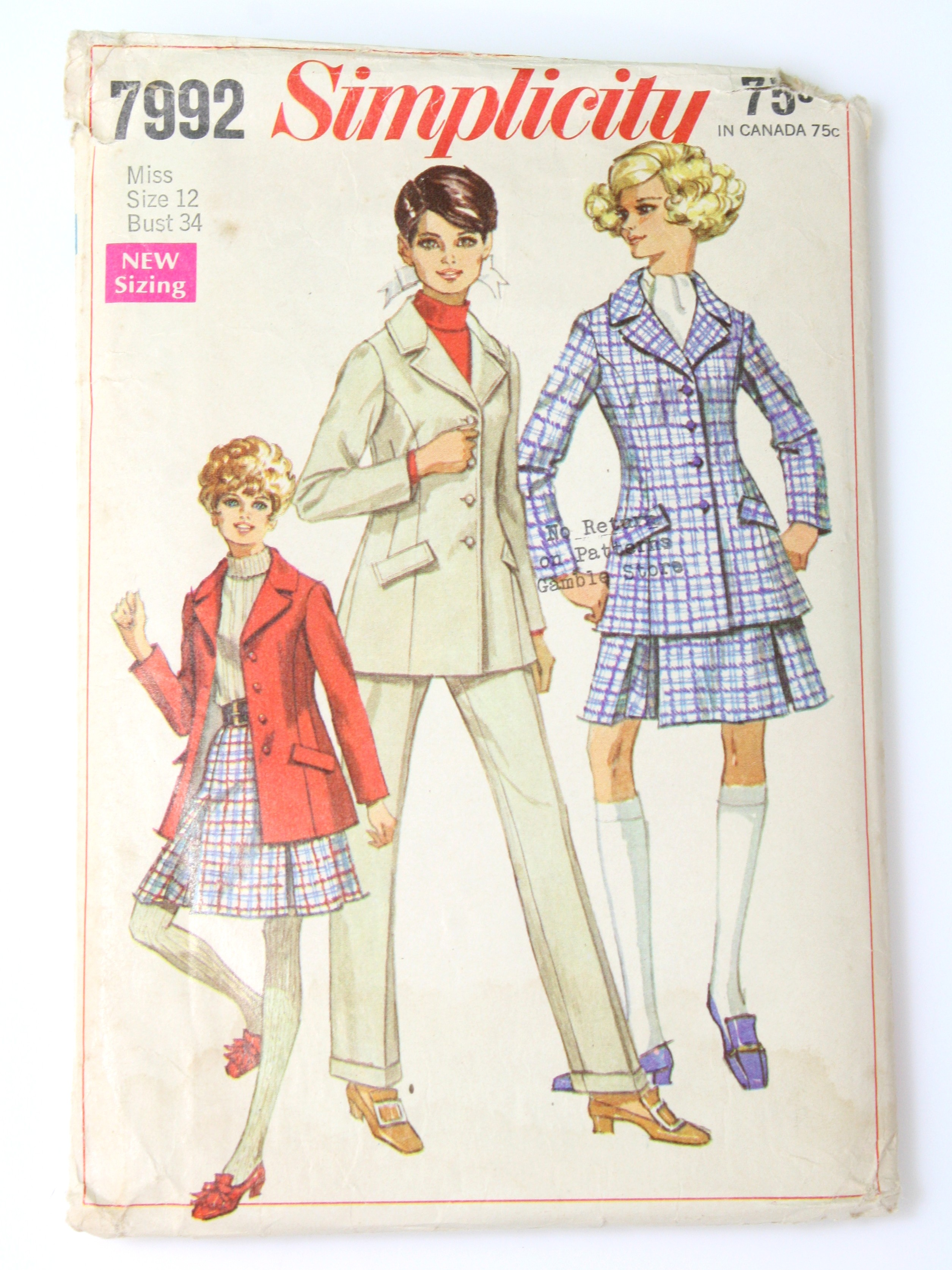 1960 S Sewing Pattern 60s Simplicity Pattern No 7992