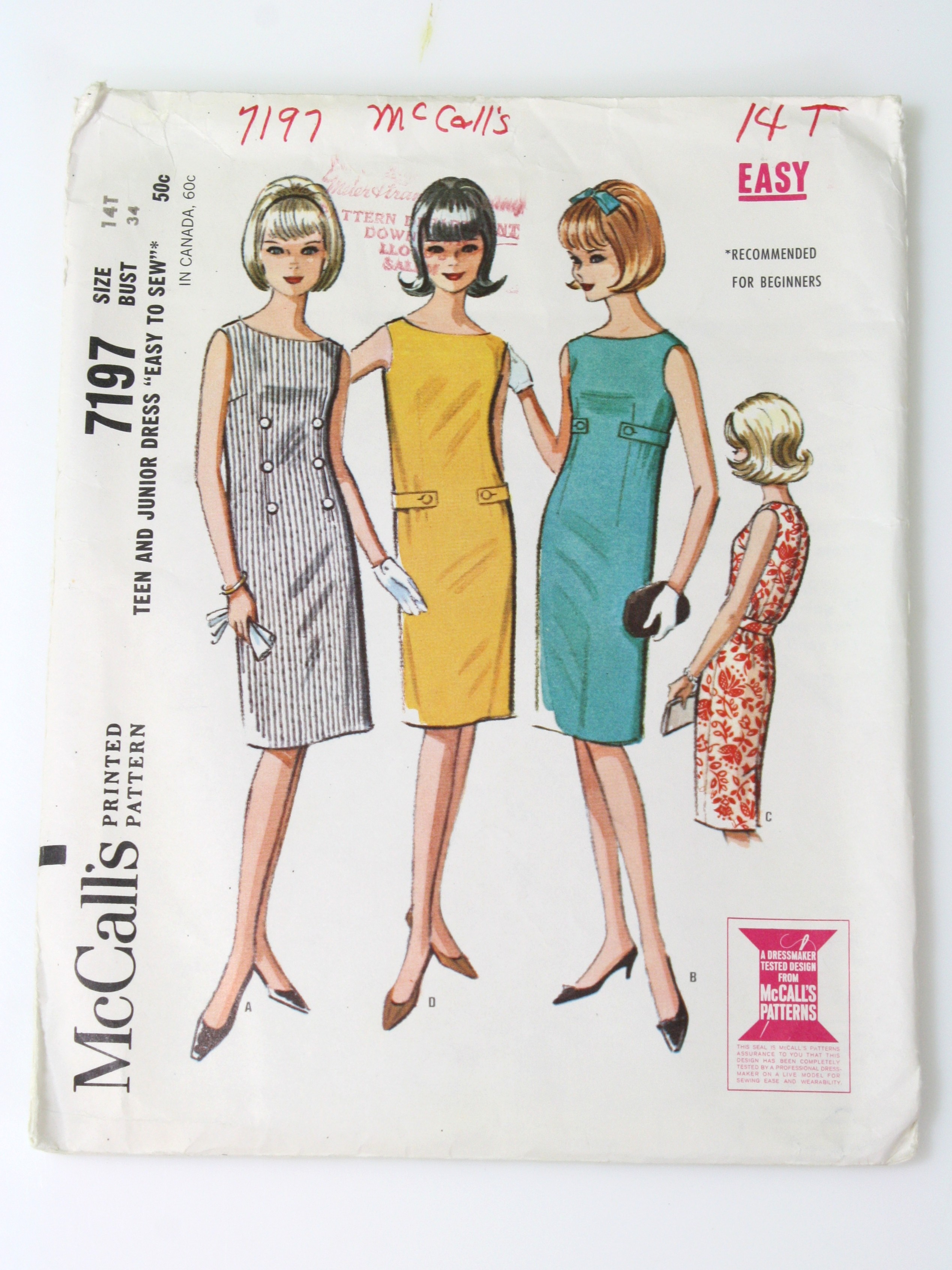 60s vintage sewing pattern 60s mccalls pattern no 7197 girls 60s vintage sewing pattern 60s mccalls pattern no 7197 girls teens and junior easy sew dress pattern with options for rim and belt details jeuxipadfo Image collections
