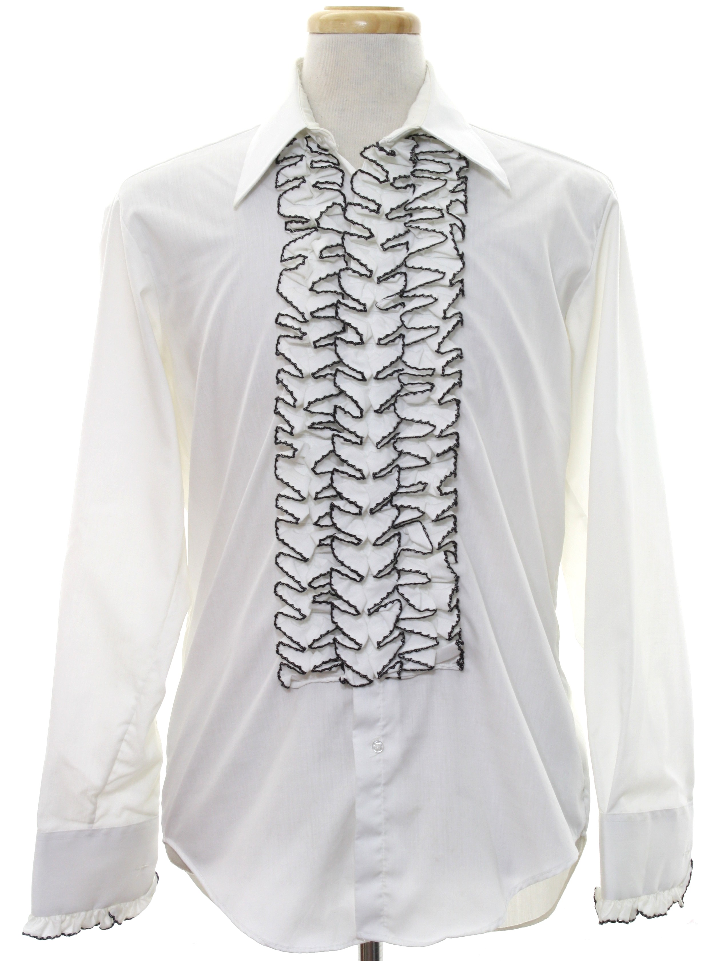 70 39 s after six shirt 70s after six mens white for Frilly shirts for men