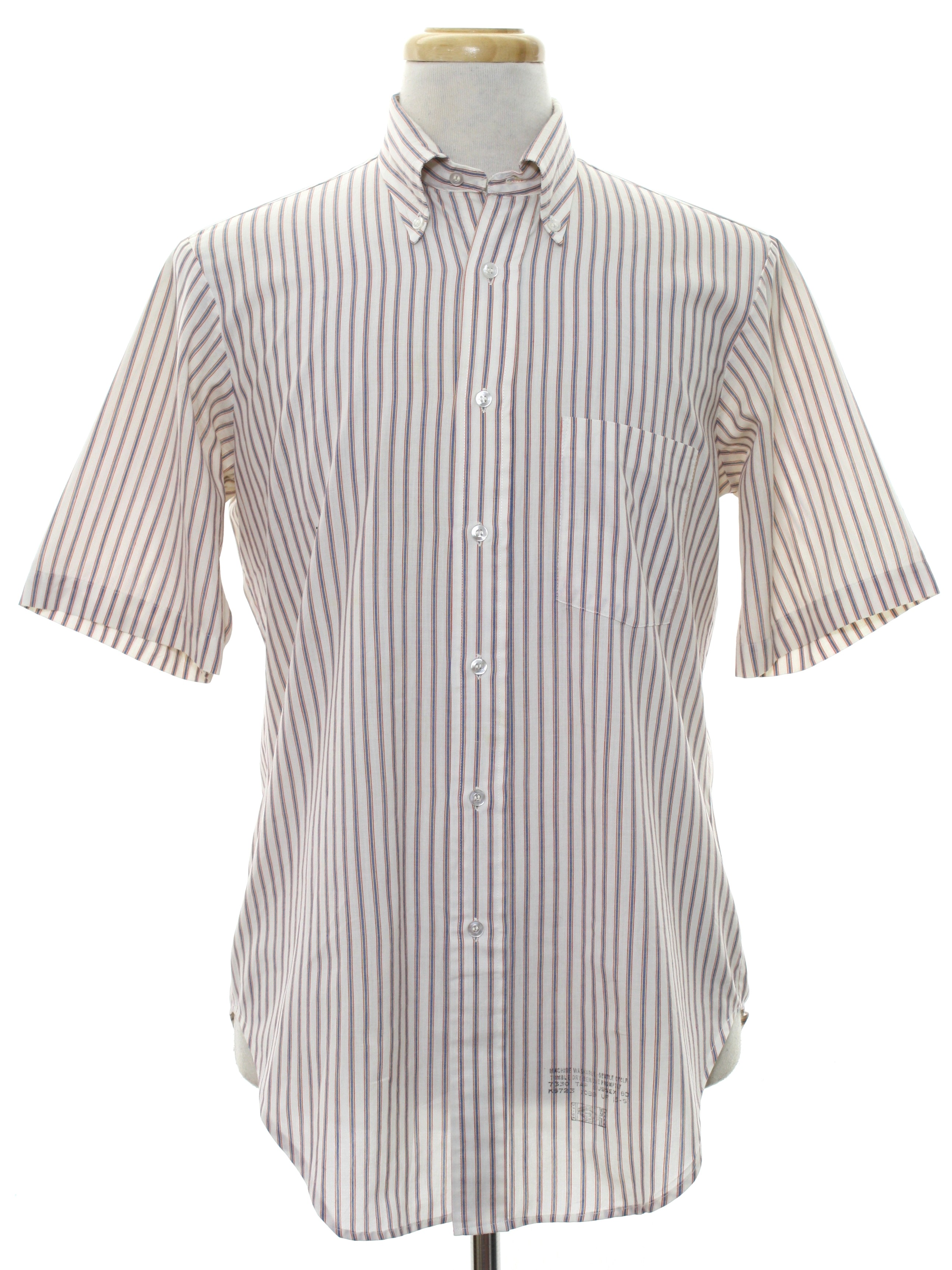 1950 39 s retro shirt 50s arrow decton mens white for Red and white striped button down shirt