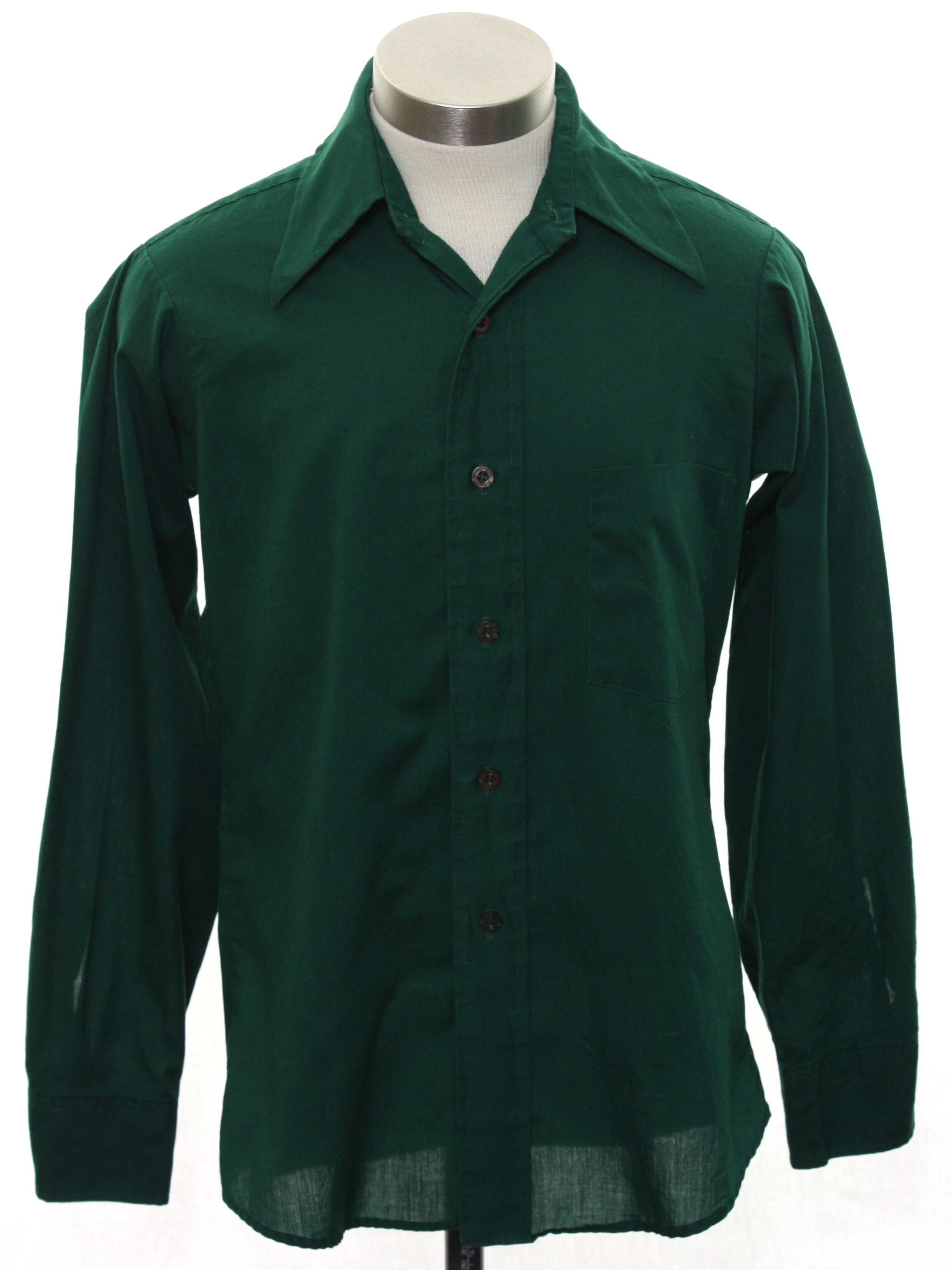 Vintage 1970 39 s shirt 70s bruxton mens or boys dark for Solid color button up shirts