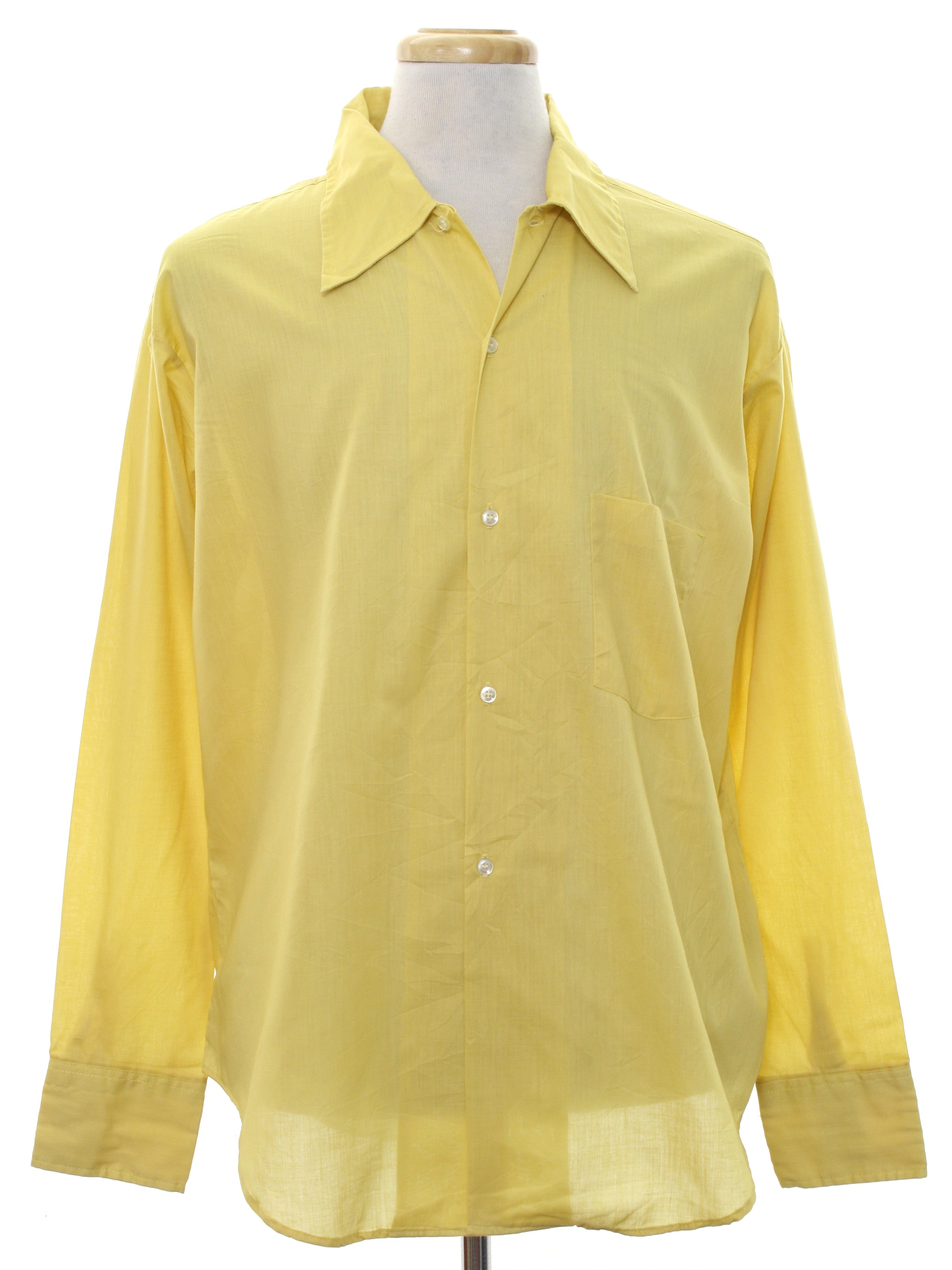 1970s vintage shirt 70s designers choice mens harvest for Solid color button up shirts