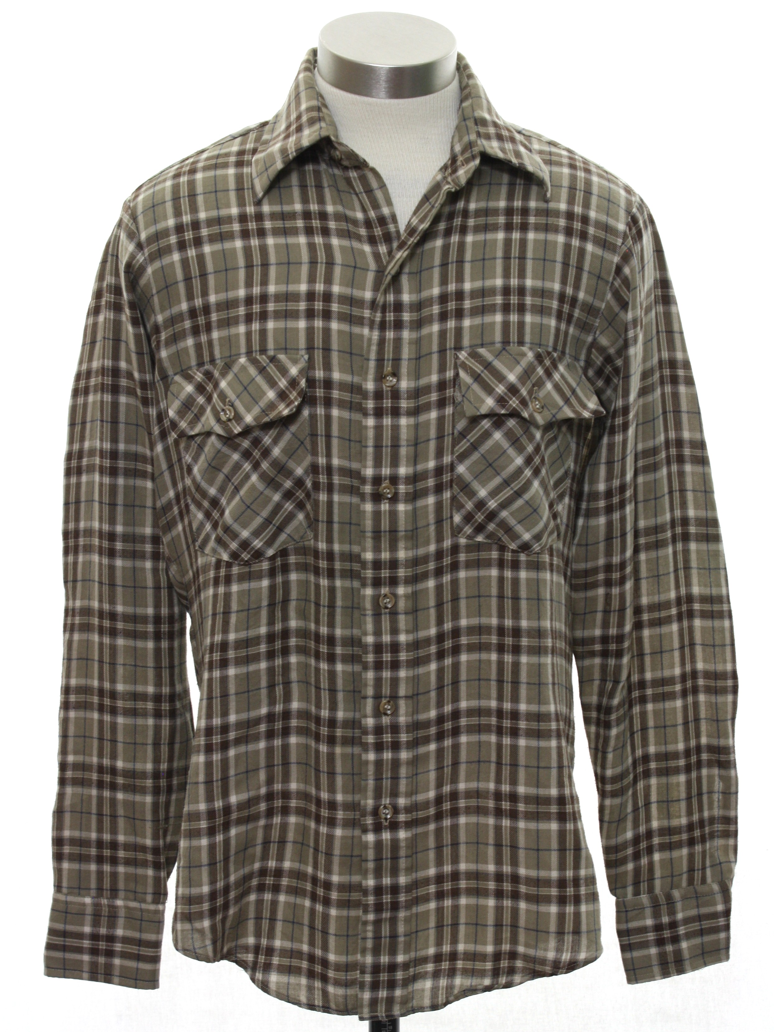 Retro 1970 39 s shirt campus 70s campus mens taupe for Polyester lined flannel shirts