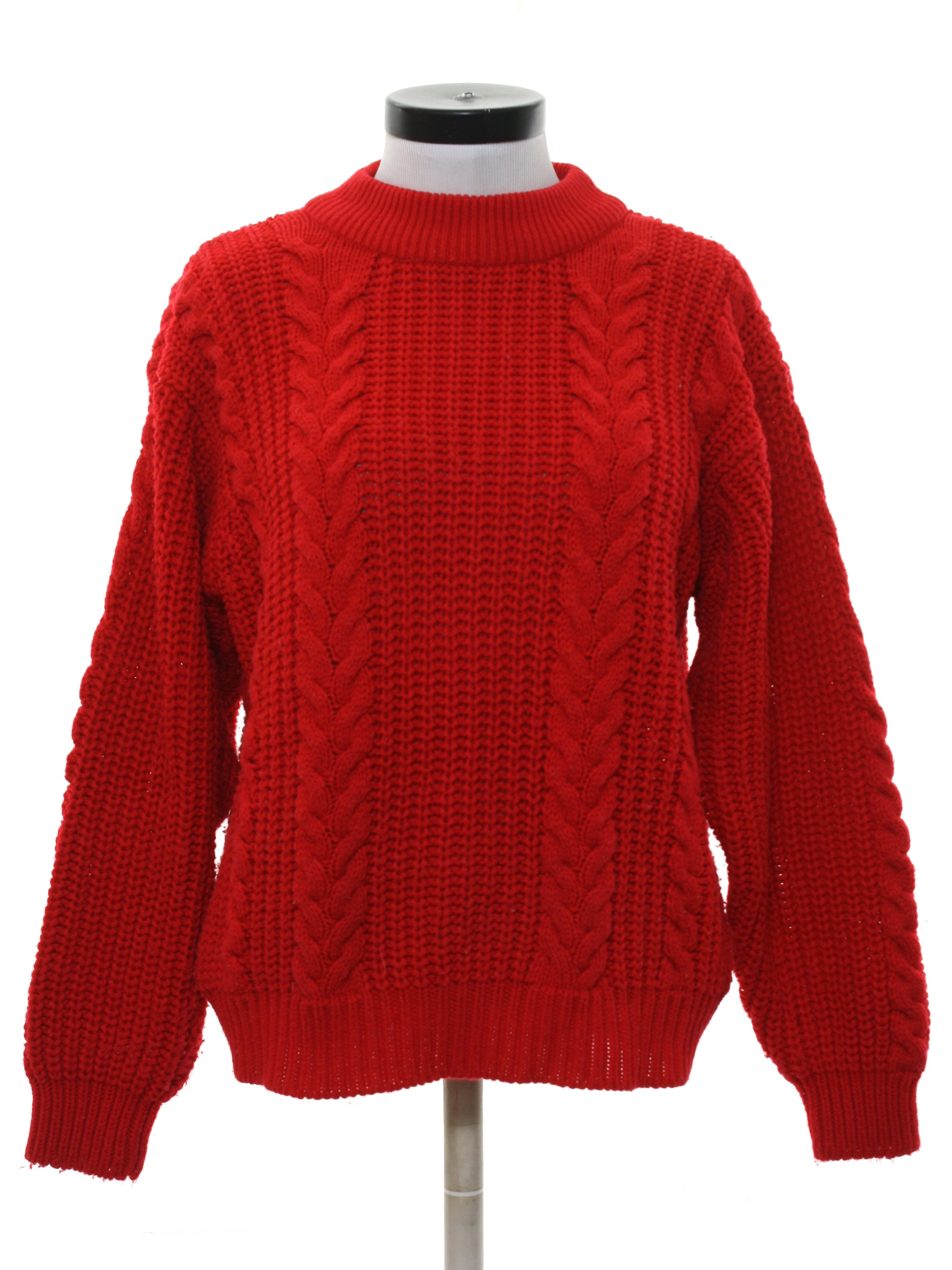 Vintage 80s Sweater 80s Junior Connection Womens Red Chunky Knit