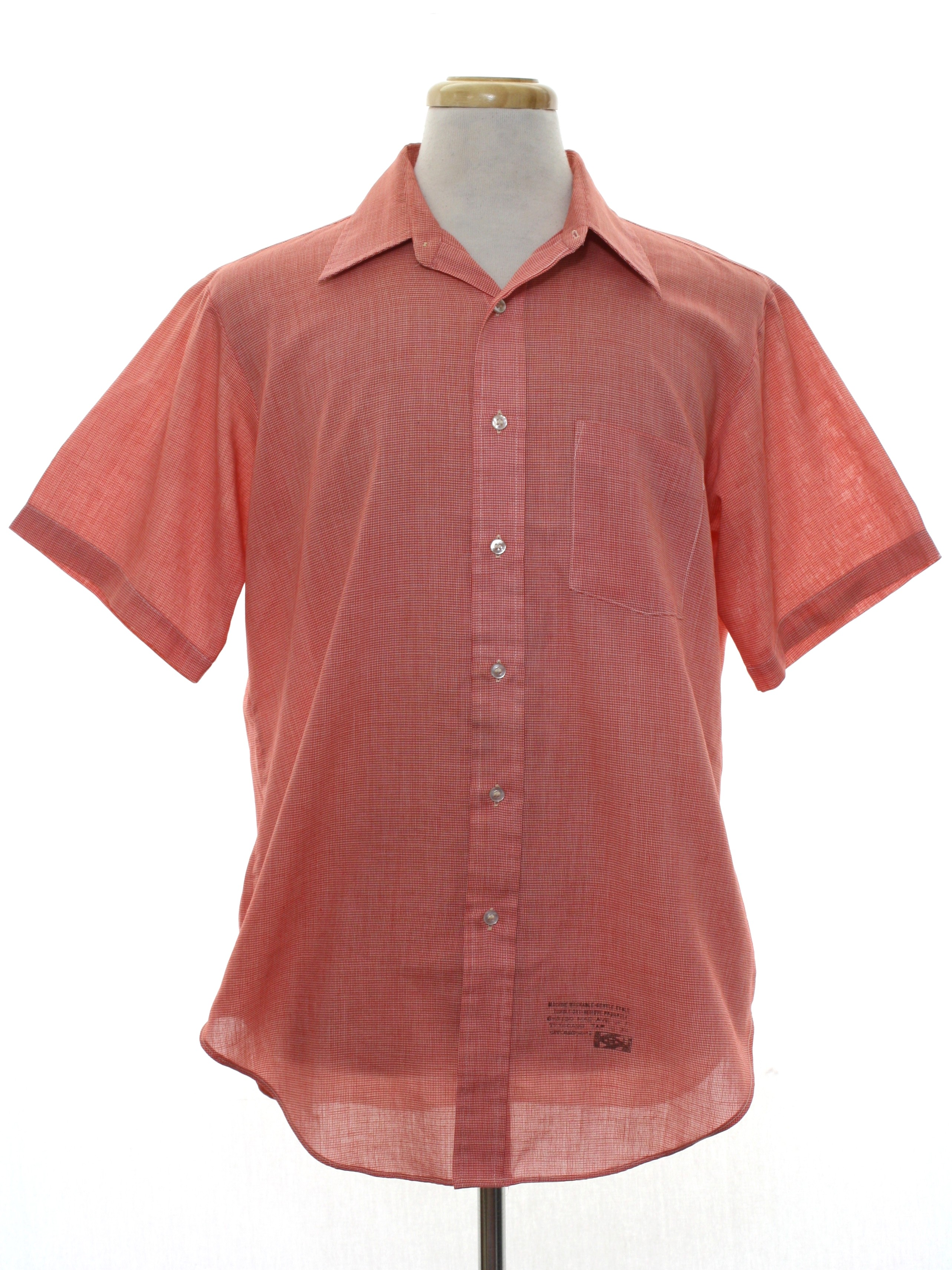 Vintage 70s shirt 70s arrow mens red and white for Polyester button up shirt
