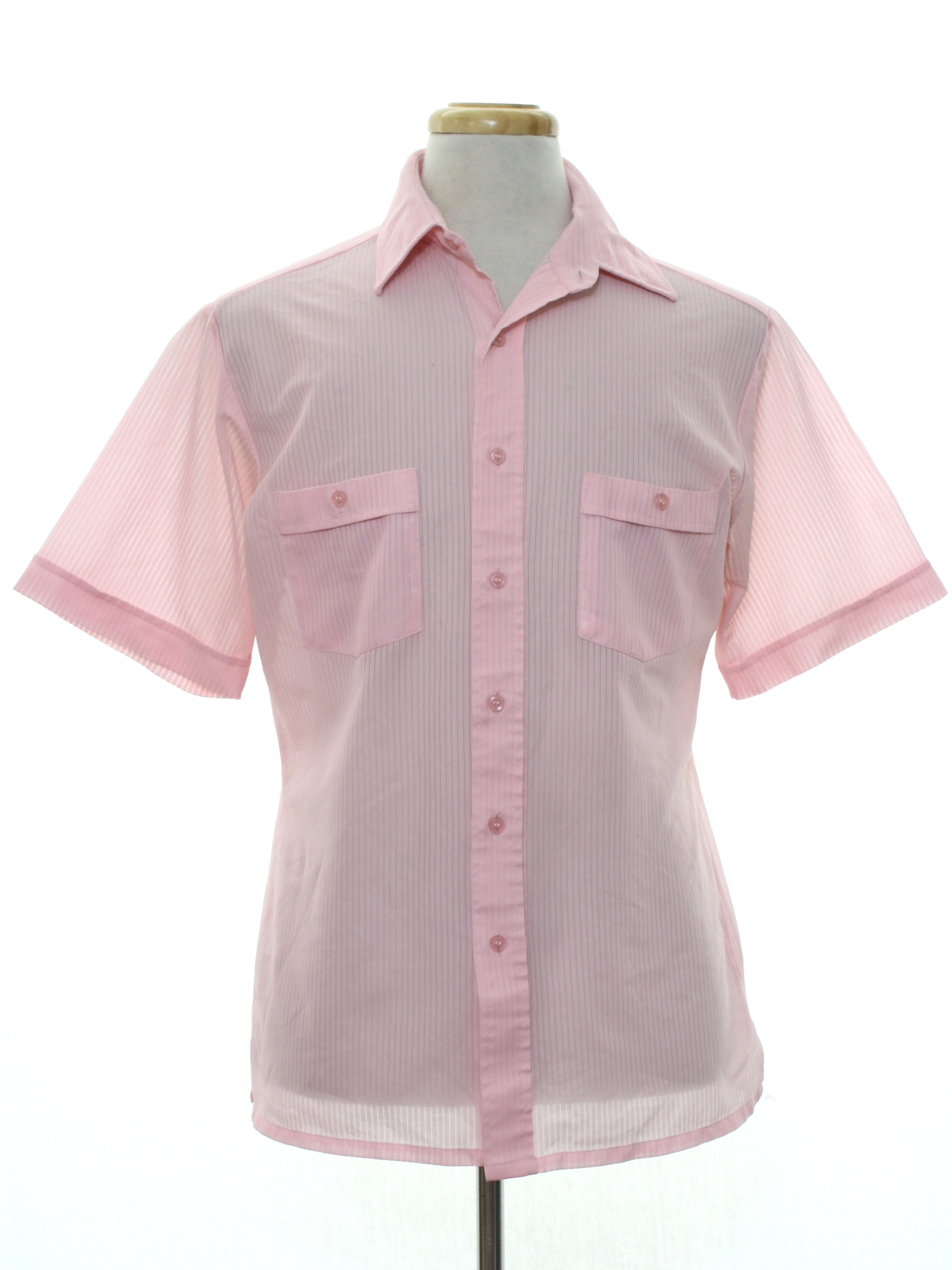 Retro 70 39 s shirt 70s no label mens light pink slinky for Polyester button up shirt