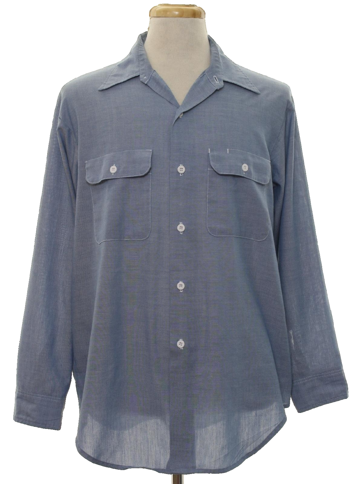 70s retro shirt late 70s or early 80s big mac mens for Blue button up work shirt