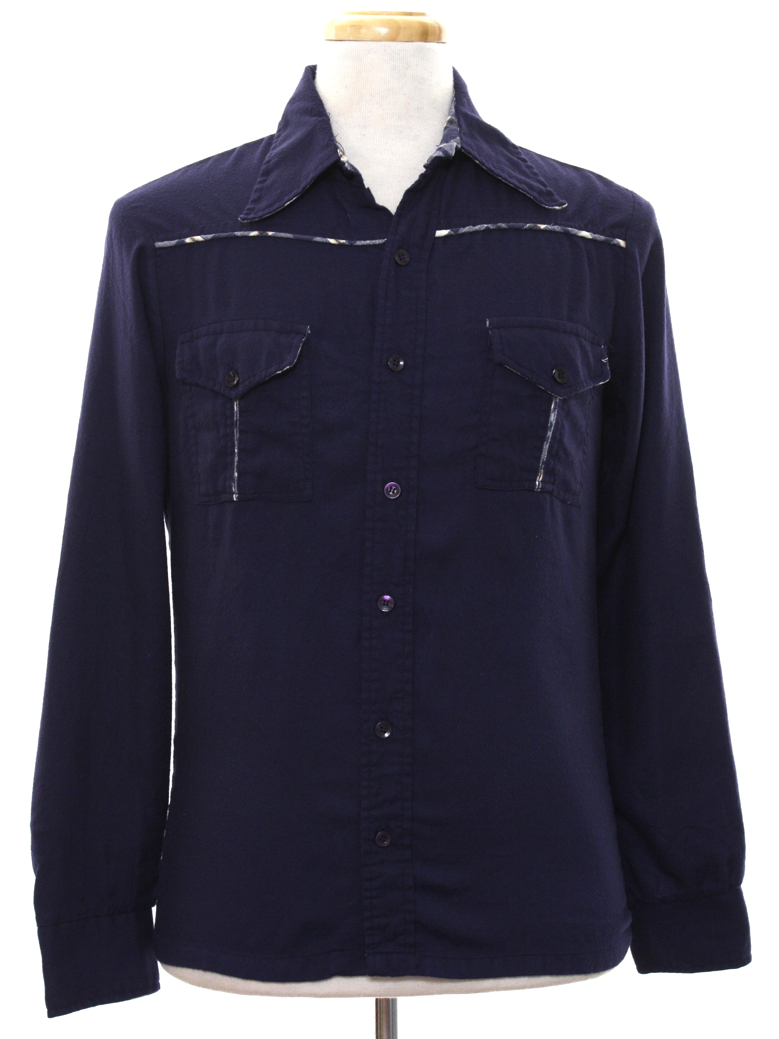 Retro 1970 39 s western shirt impact 70s impact mens for Cotton polyester flannel shirts