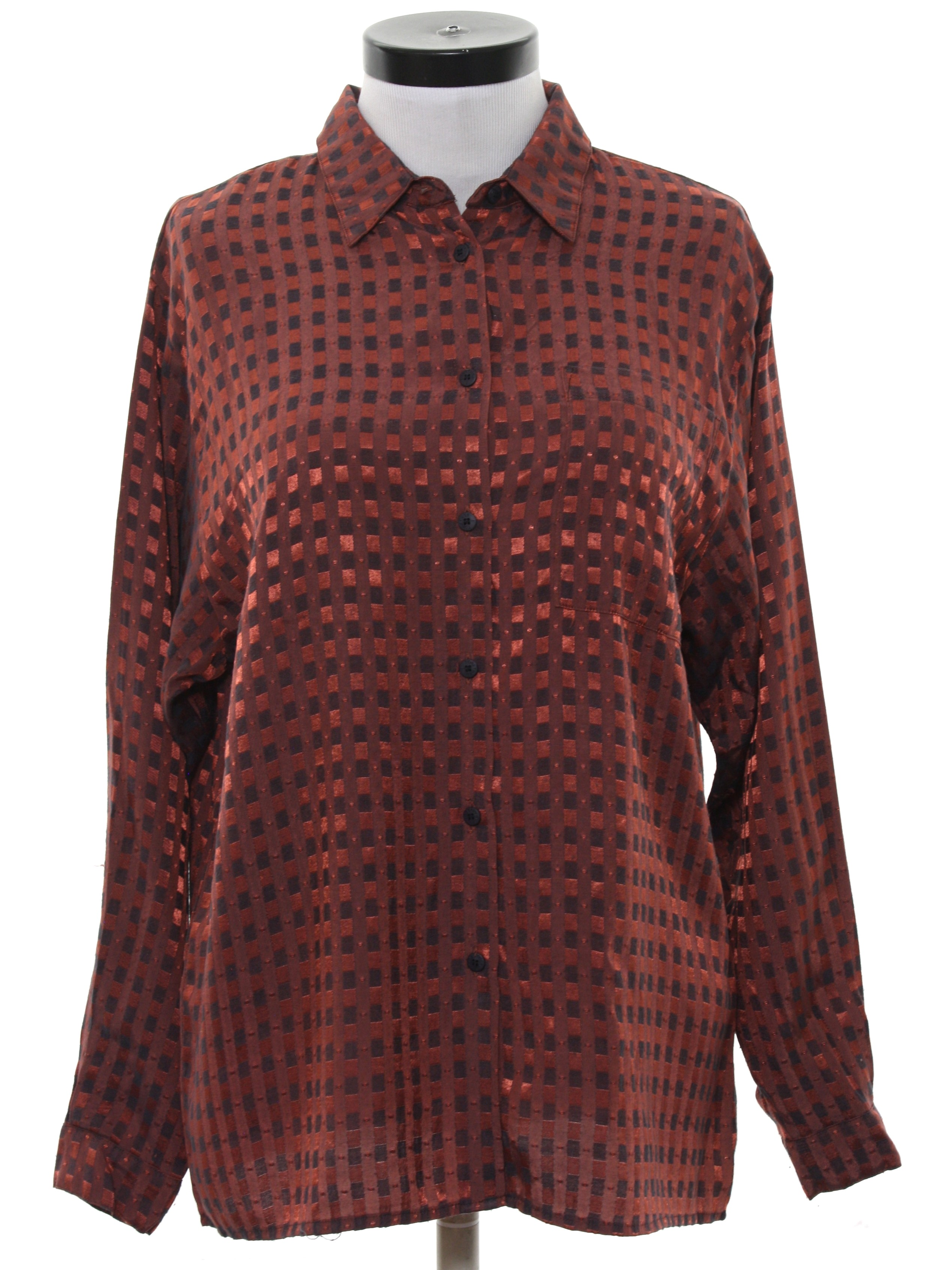 1980 39 s shirt together 80s together womens copper and for Polyester button up shirt