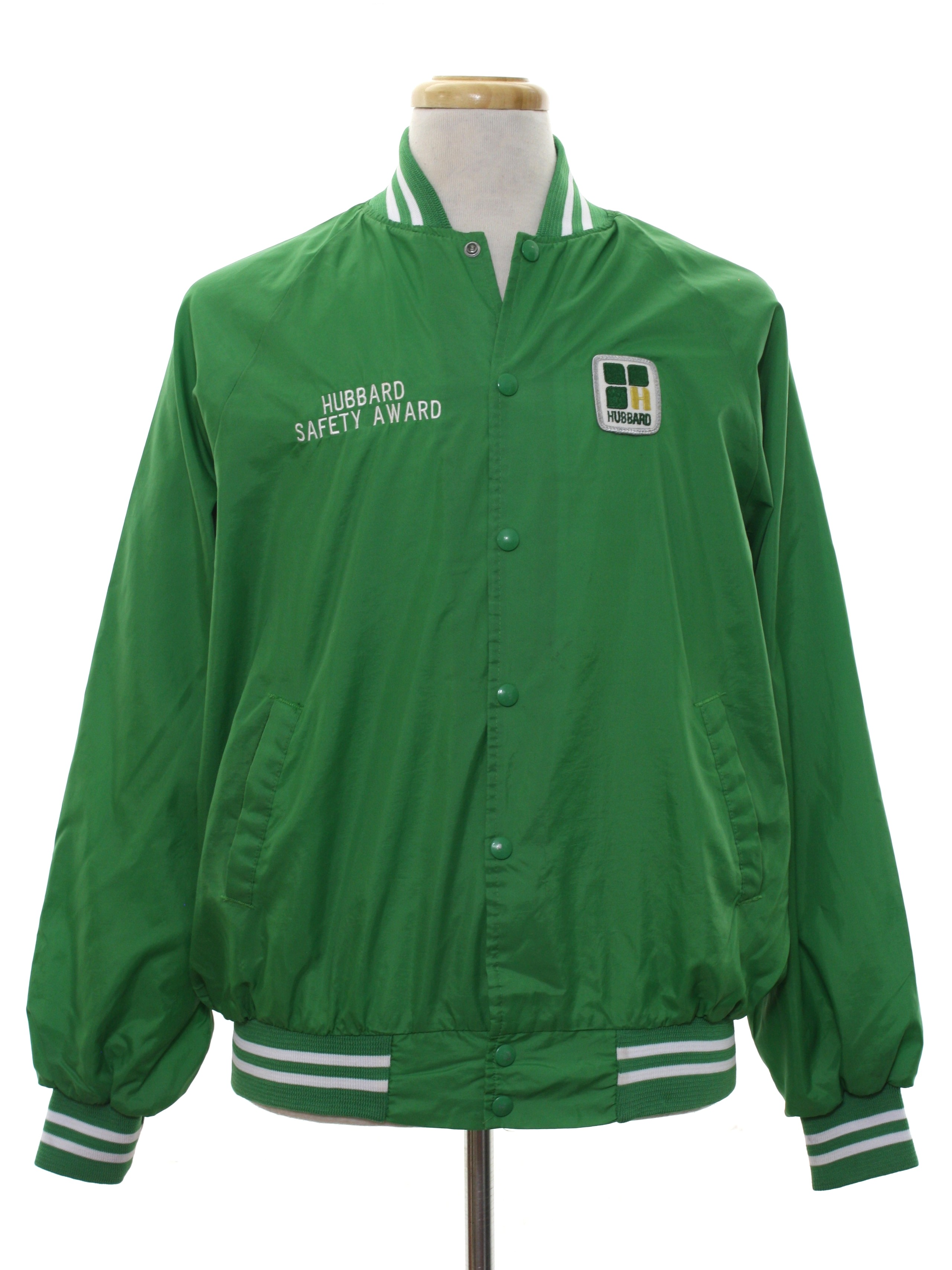 Seventies Vintage Jacket: 70s -K-Brand- Mens green and white nylon ...