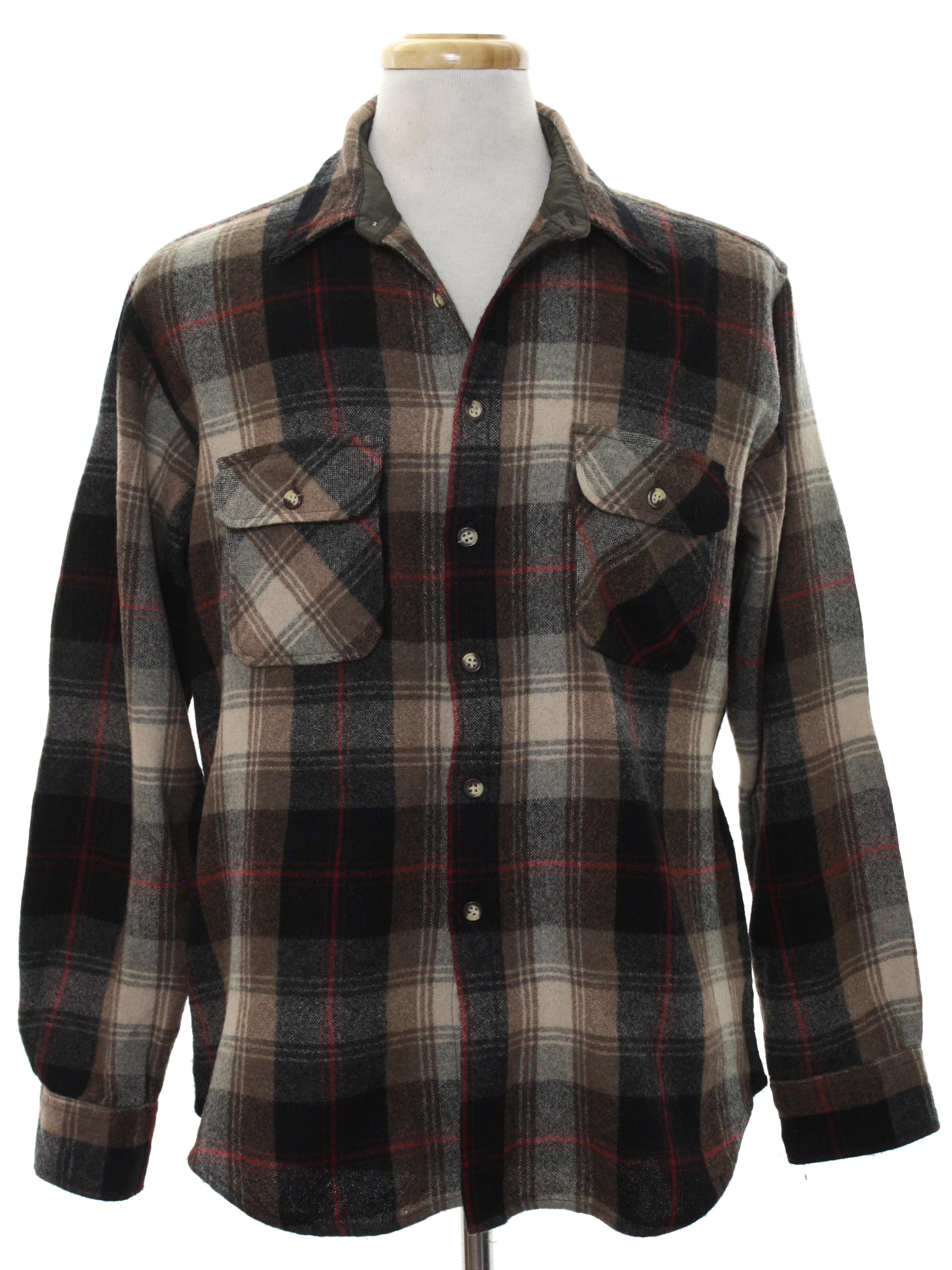 1980 39 s vintage briggs shirt 80s briggs mens brown for Mens wool flannel shirt