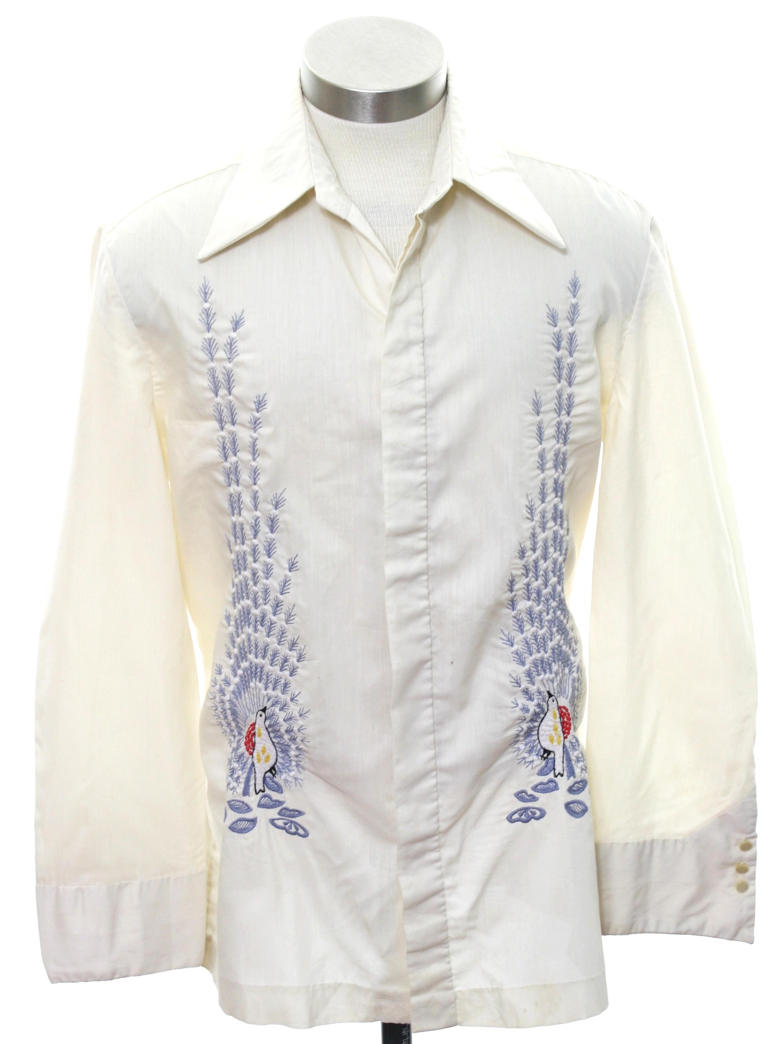 Seventies Vintage Hippie Shirt 70s No Label Boys Ivory