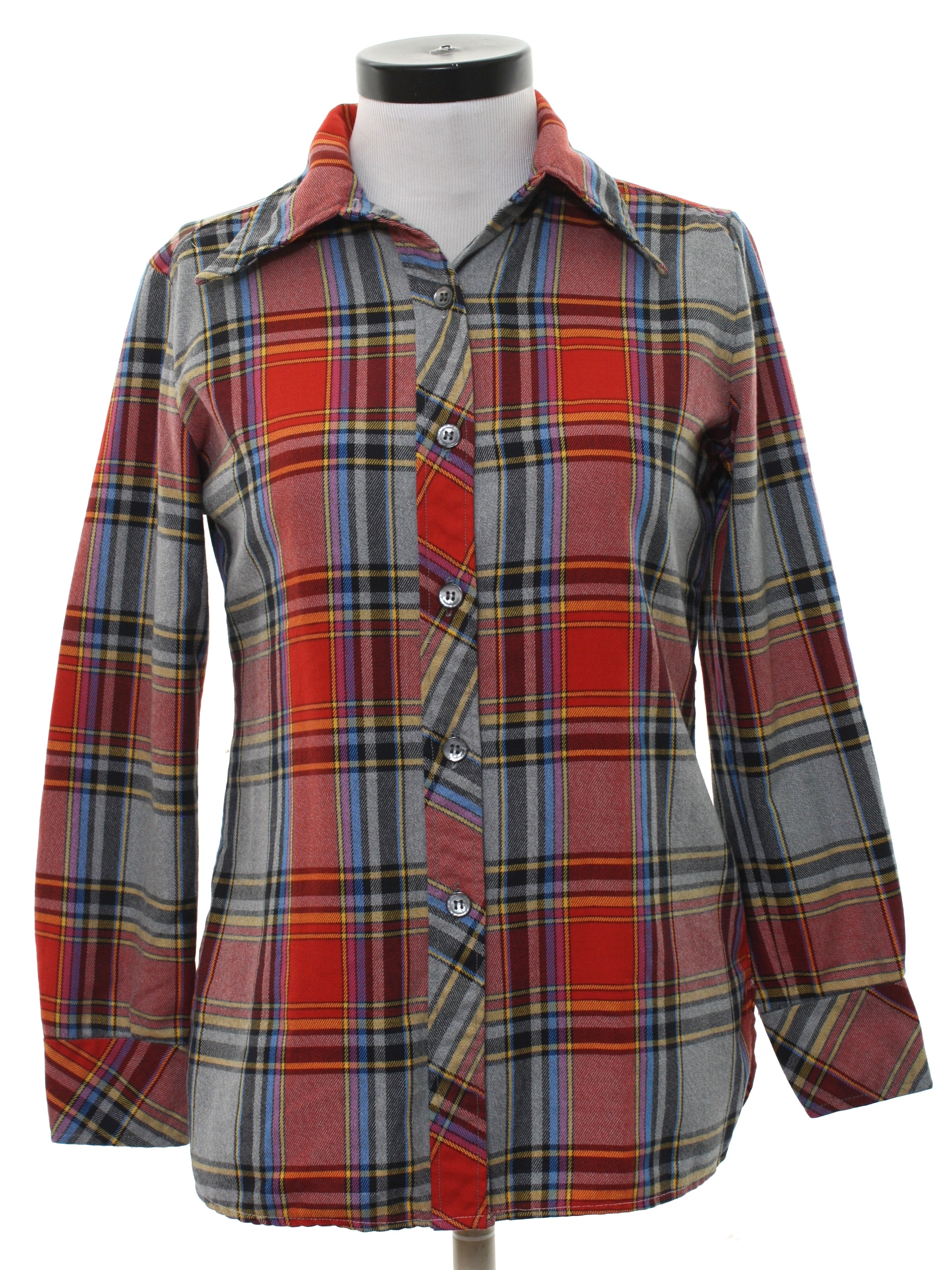 70s retro shirt 70s apple valley womens grey background for Polyester lined flannel shirts