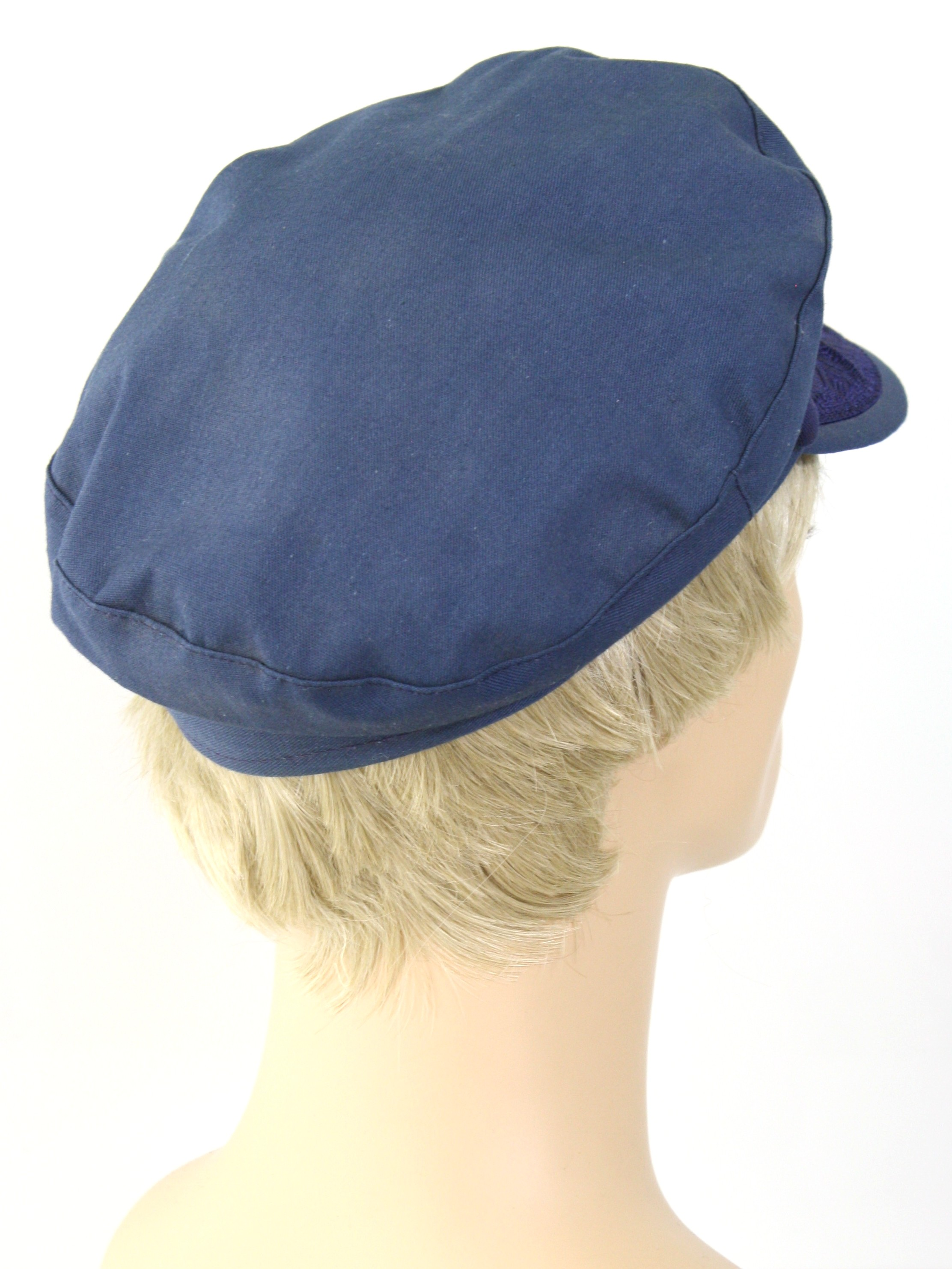 Vintage Fotios 80 s Hat  80s -Fotios- Mens navy blue background cotton  Greek fisherman cap hat with attached navy blue rope along the bill 7c1a240a9bad