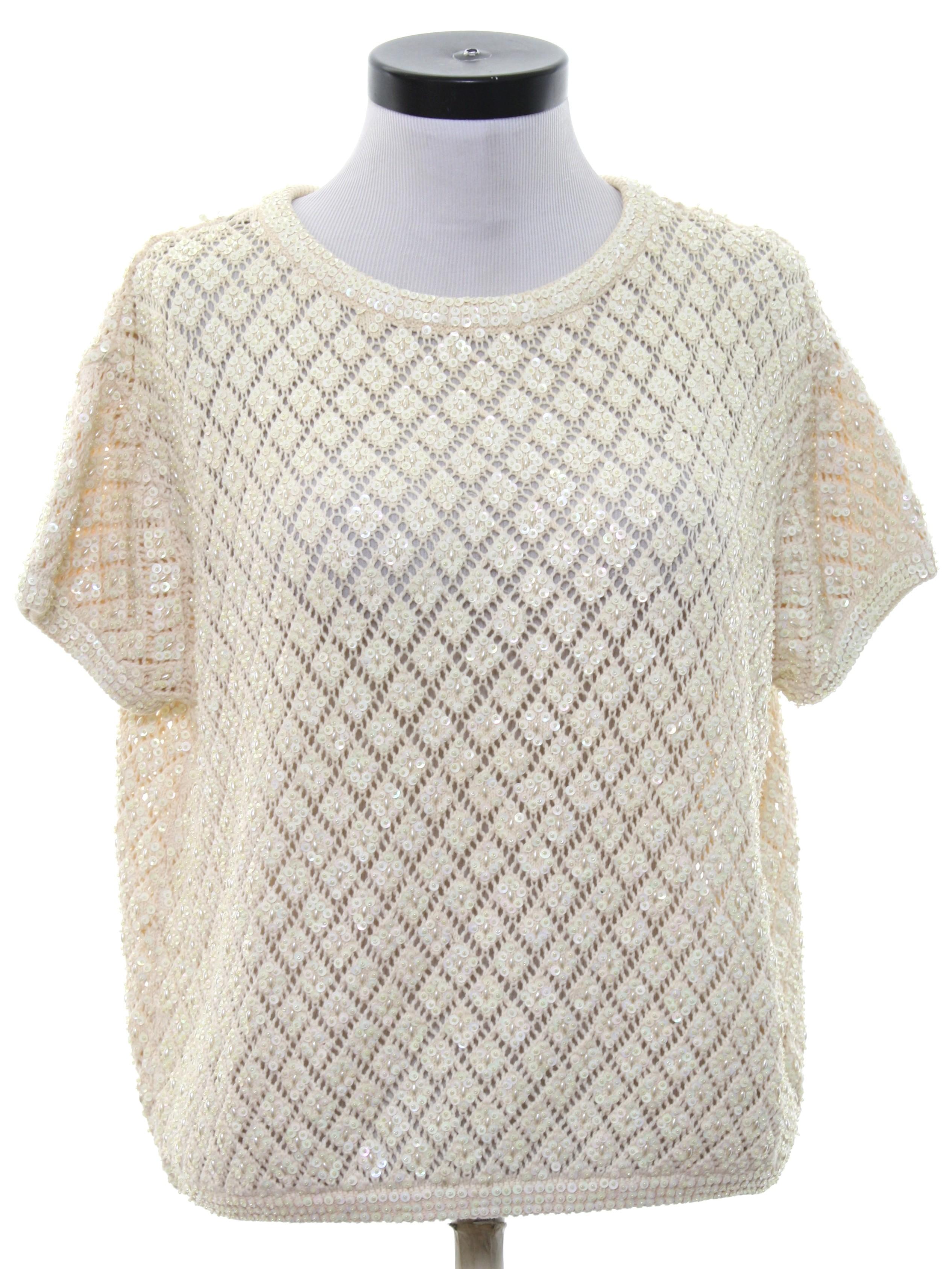 Missing Label Eighties Vintage Beaded Sweater: 80s -Missing Label ...