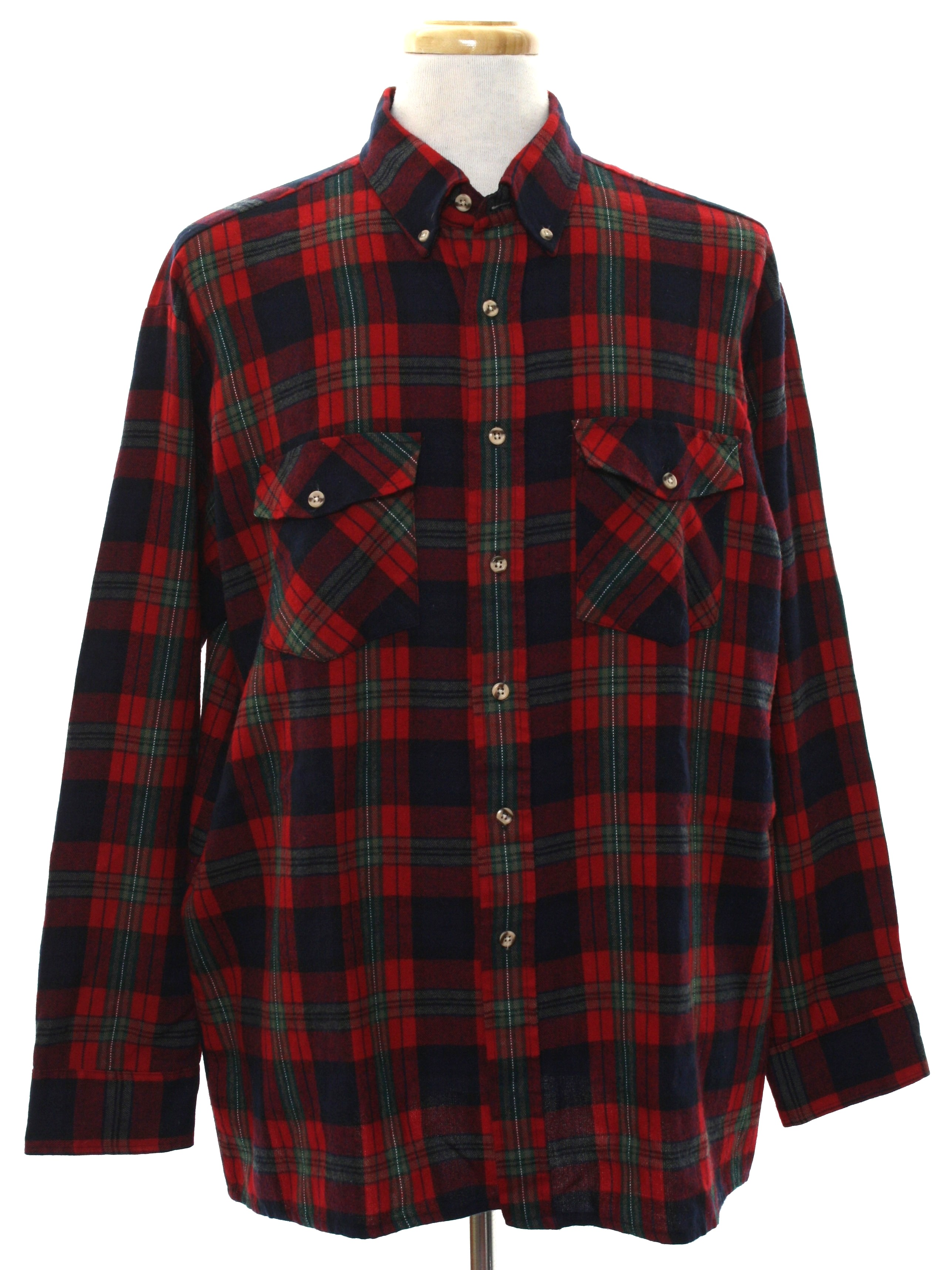 Vintage van heusen 1980s shirt 80s van heusen mens red for Van heusen plaid shirts