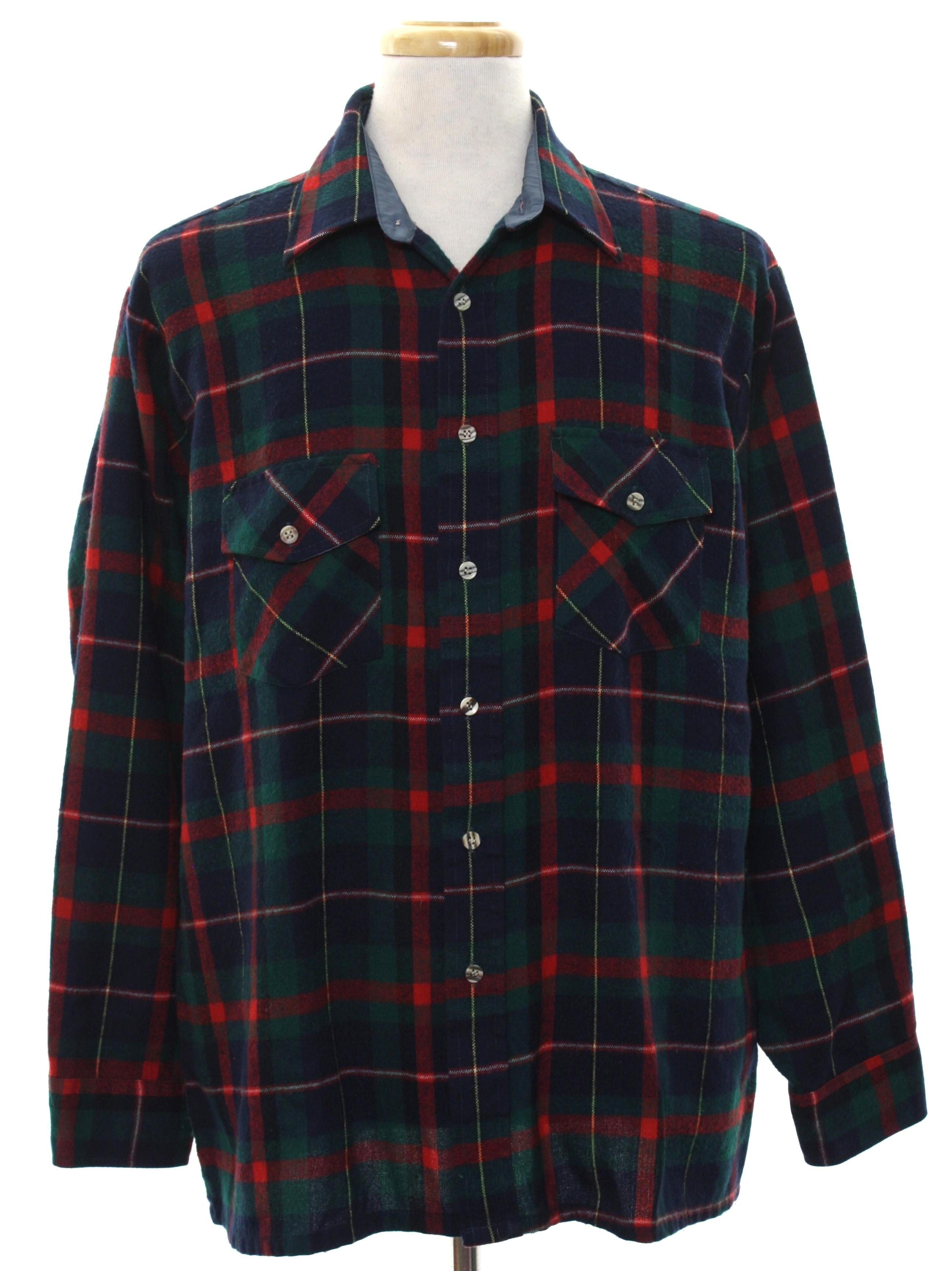 1980s vintage shirt 80s 417 by van heusen mens blue for Van heusen plaid shirts