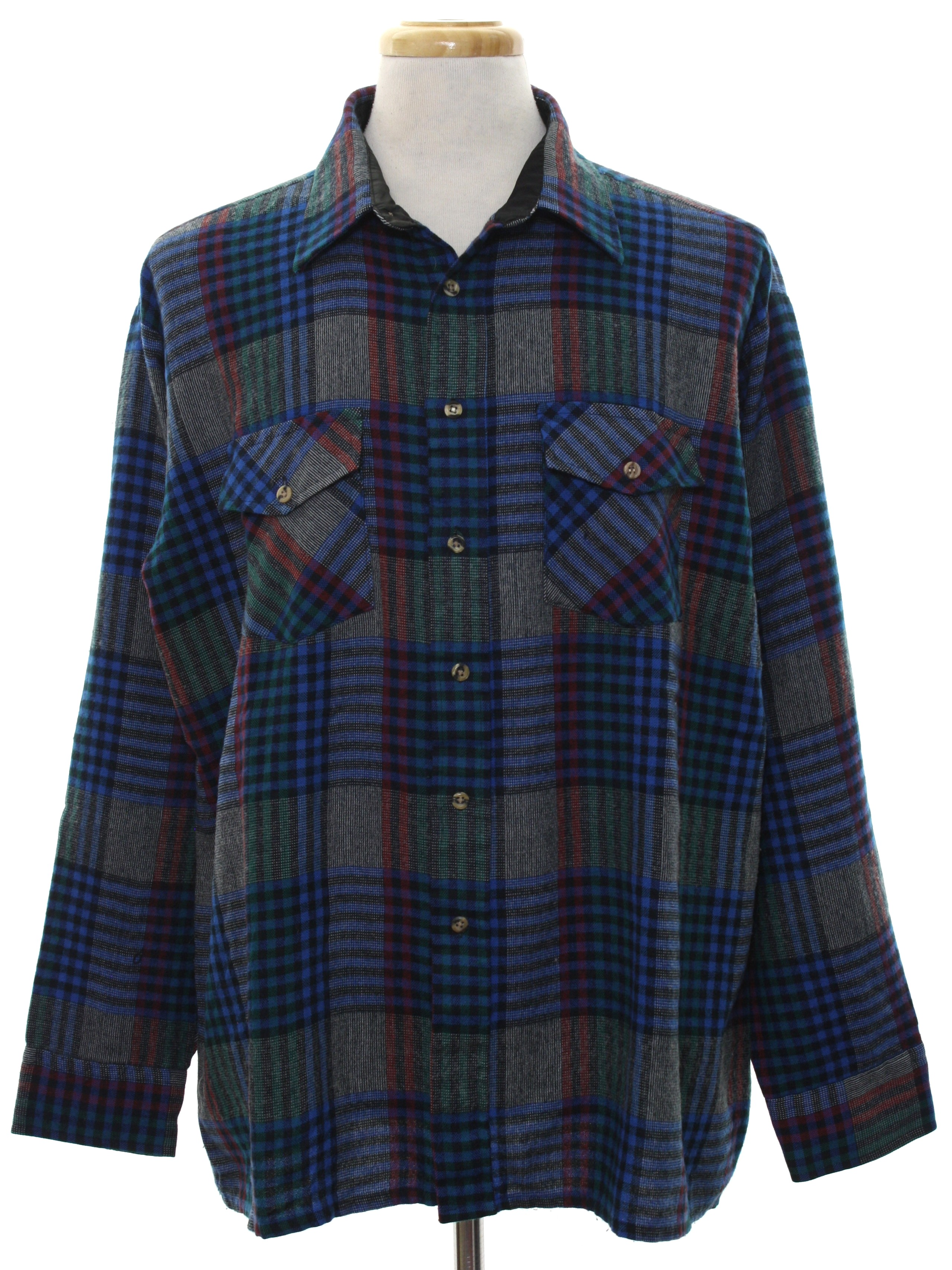 Vintage 1980 39 s shirt 80s van heusen mens navy blue for Navy blue and red flannel shirt