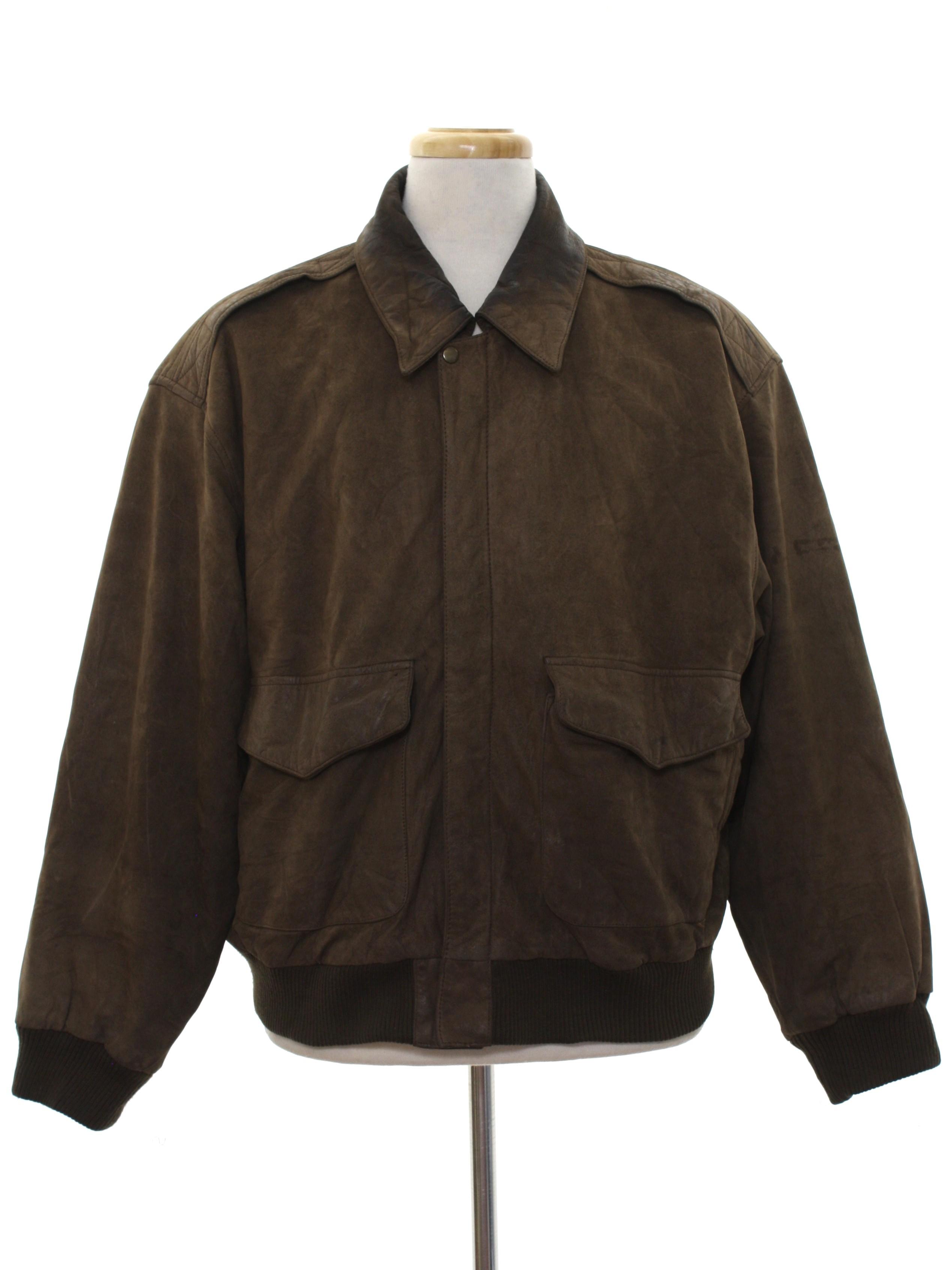 Mens black leather bomber jacket ribbed collar