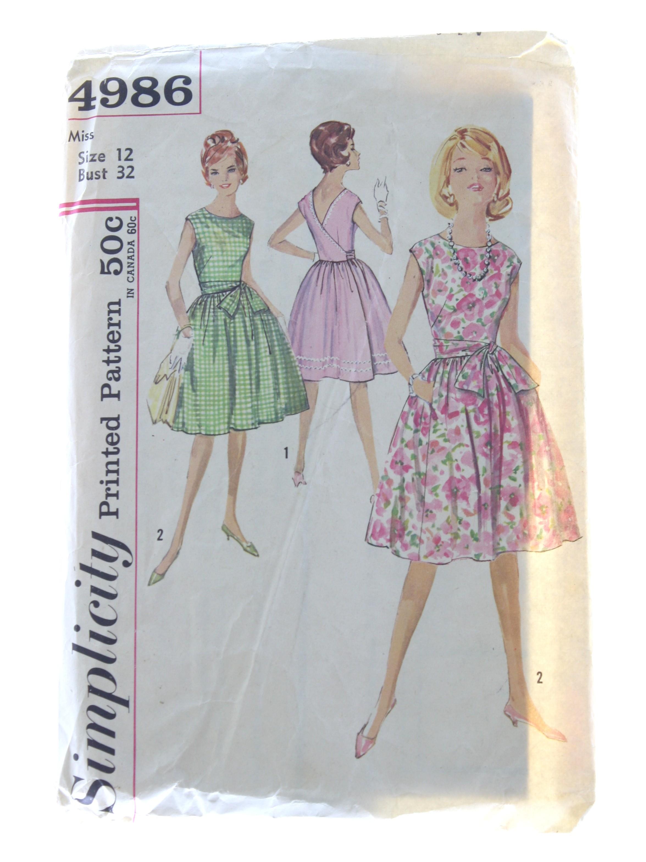 Retro Sixties Sewing Pattern: c. 1950 -Simplicity Pattern No. 4986 ...