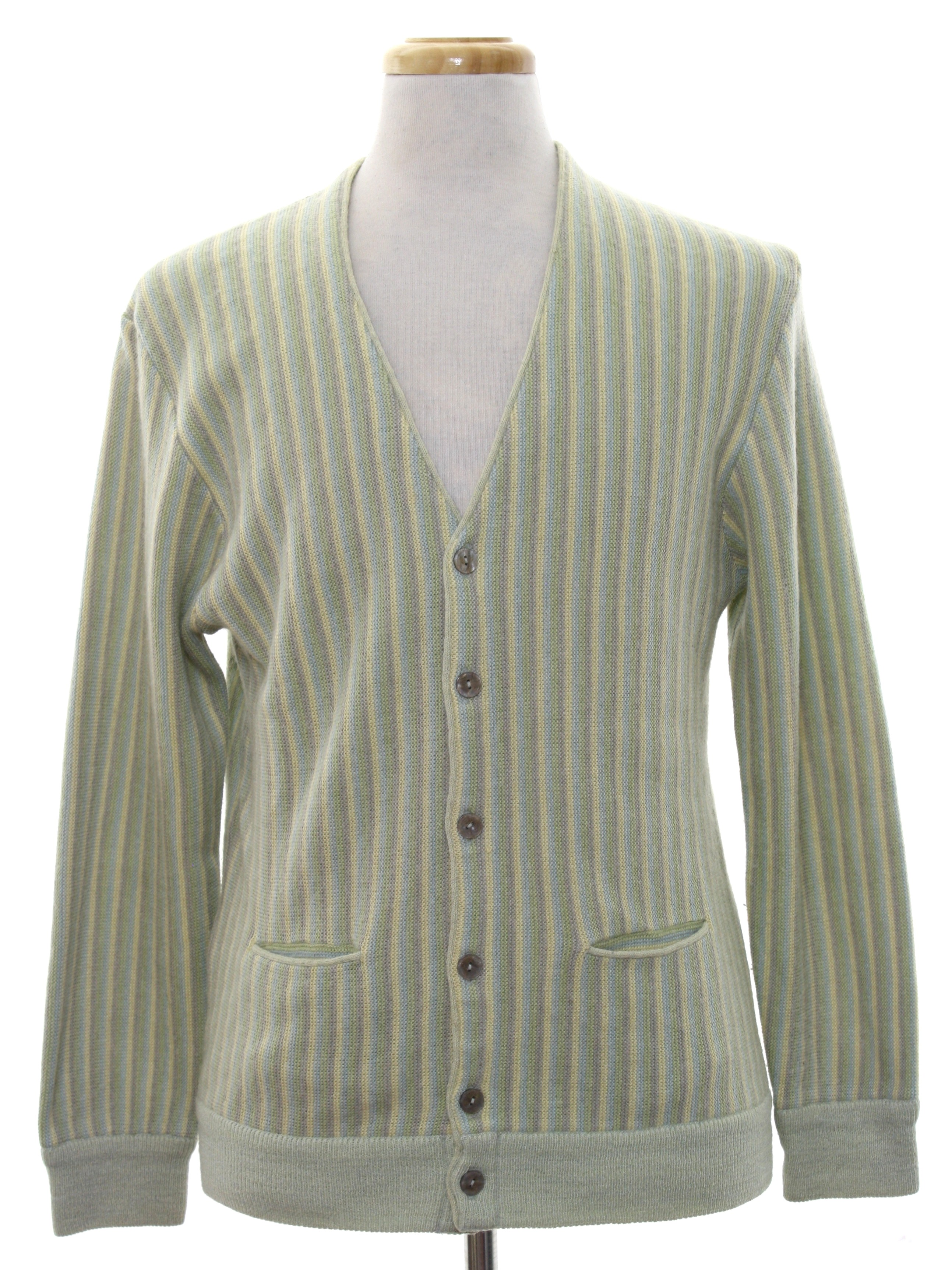 1960's Retro Caridgan Sweater: 60s style -Oneman- Mens Light green ...