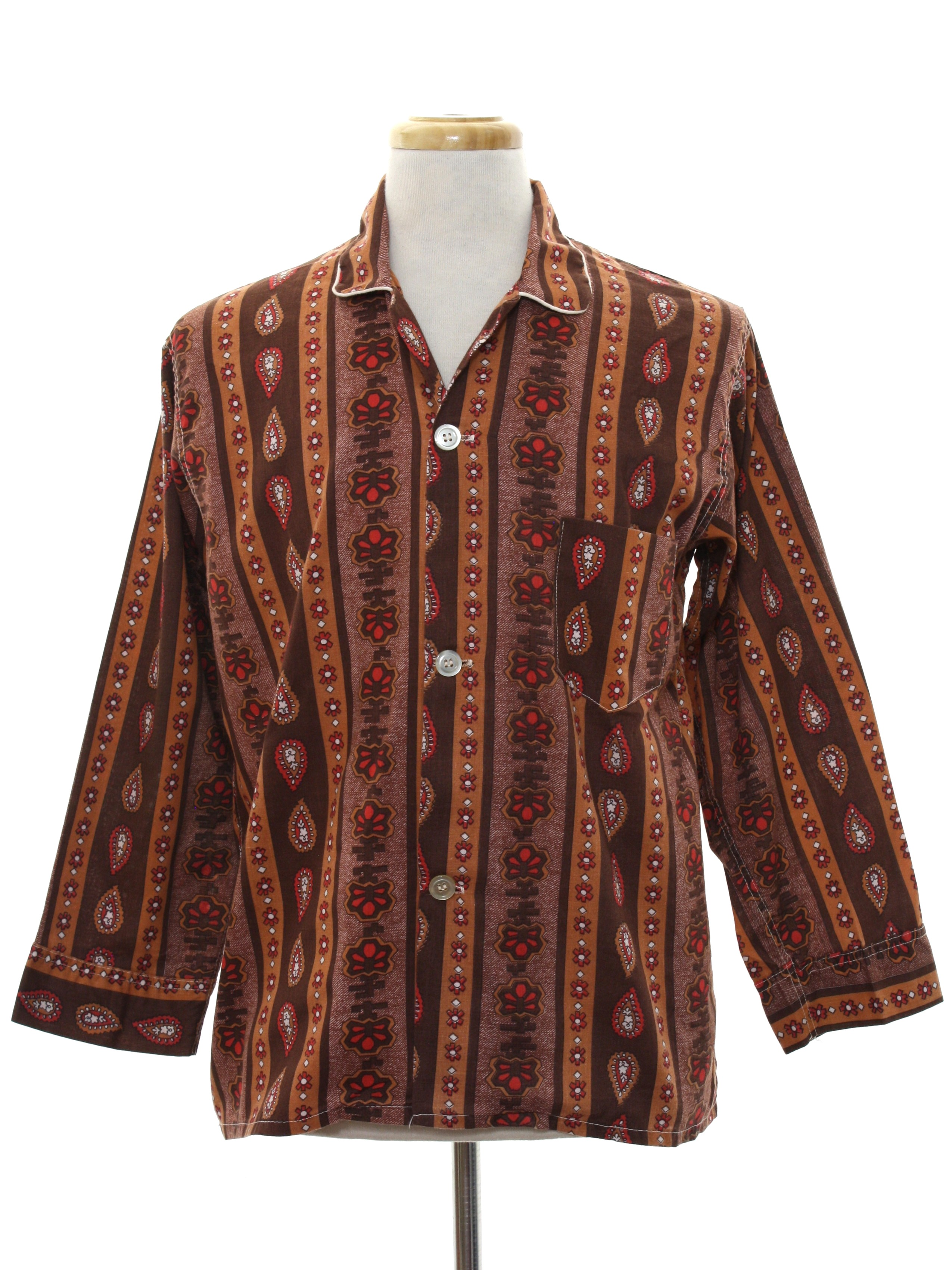 Vintage 1960 s Shirt  Early 60s -Lawson Permanent Press- Mens brown ... 93d44d9c5