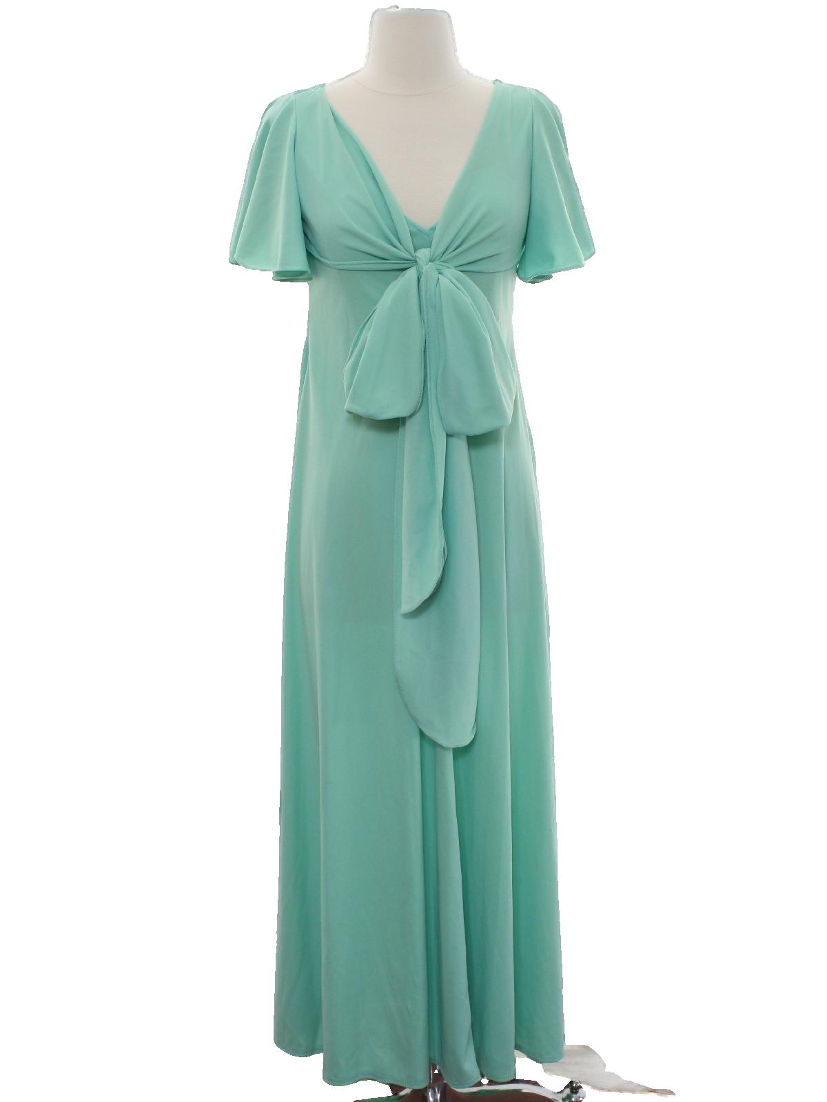 Retro 1970\'s Cocktail Dress: 70s -No Label- Womens mint green slinky ...