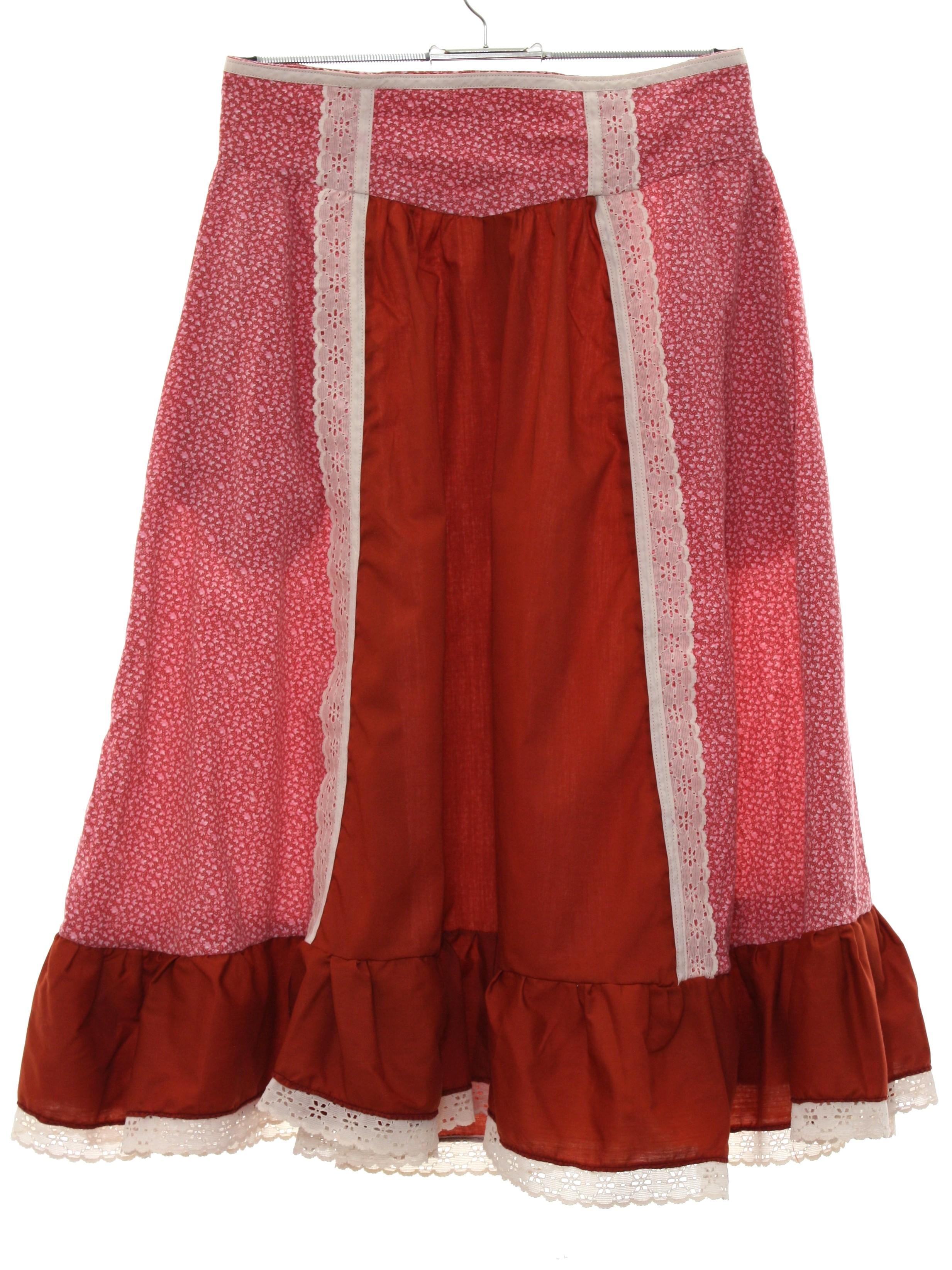 4f6b0a8ba6 Vintage 70s Hippie Skirt  70s -homesewn- Womens dark rust