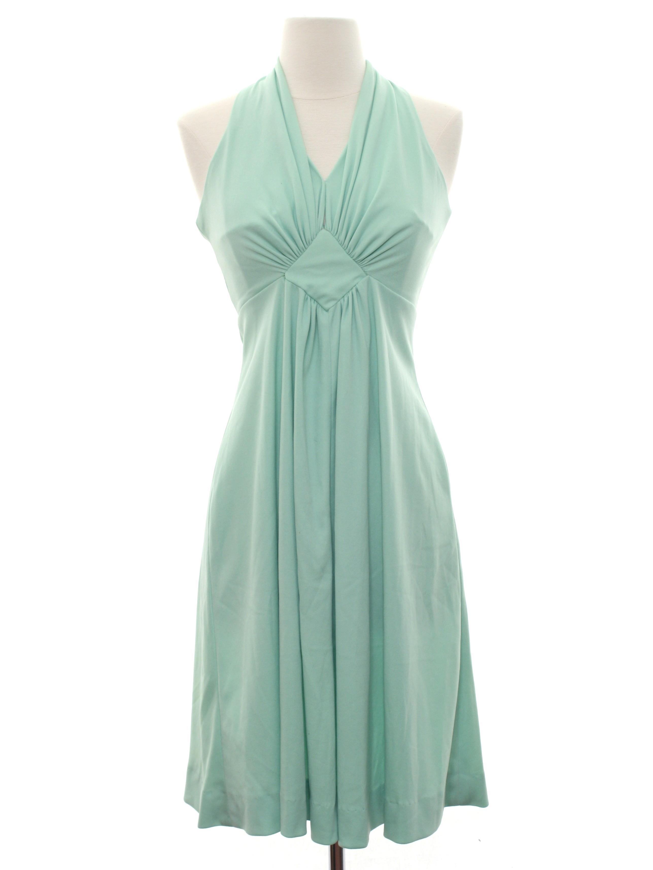 Retro 70\'s Cocktail Dress: 70s -No Label- Womens mint green slinky ...