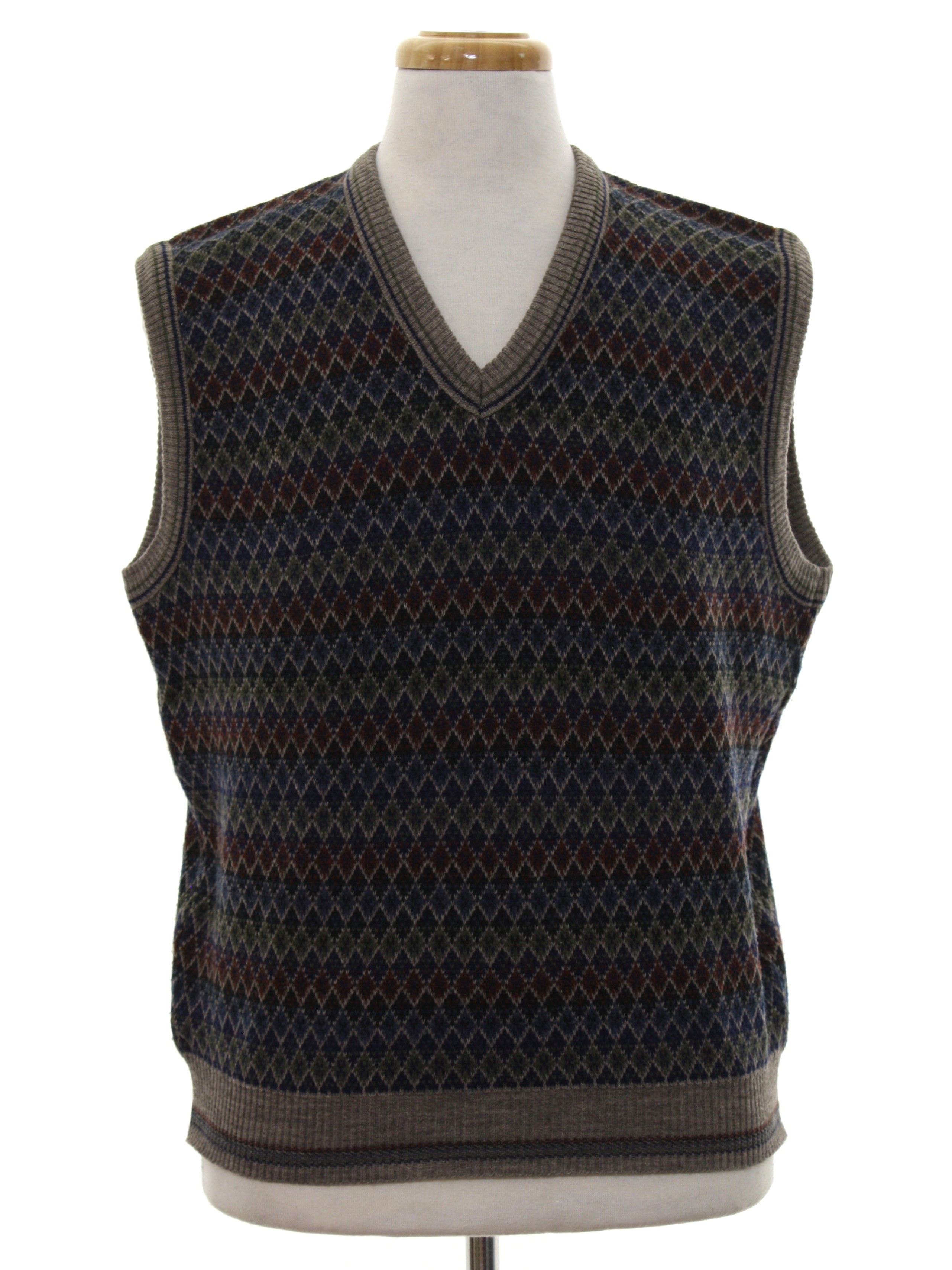 90's Alfani Sweater: 90s -Alfani- Mens taupe background acrylic ...