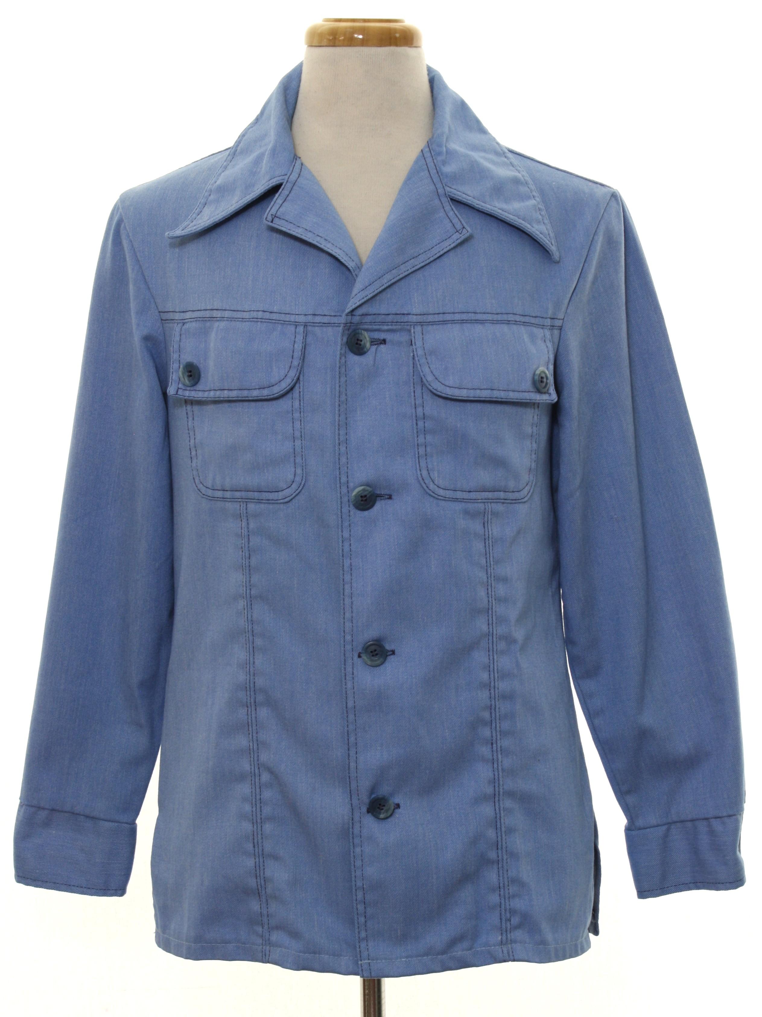 1970's Vintage Jacket: 70s -No Label- Mens pale blue cotton denim ...