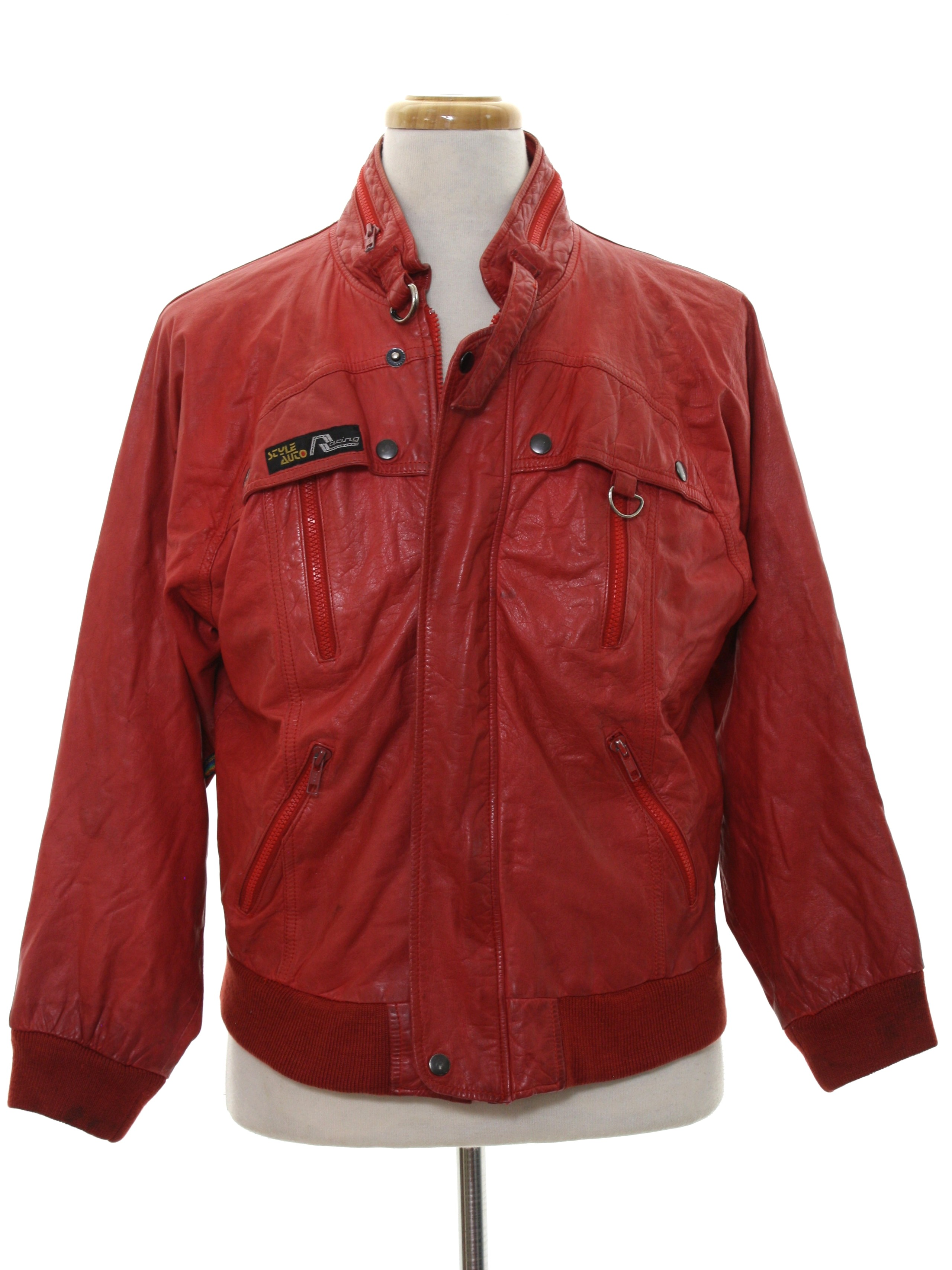1980 S Leather Jacket Style Auto Racing 80s Style Auto Racing Mens Red Background Leather Ribbed Knit Cuff Longsleeve Zip And Snap Front Totally 80s Leather Jacket Jacket Has A Buckle Along The