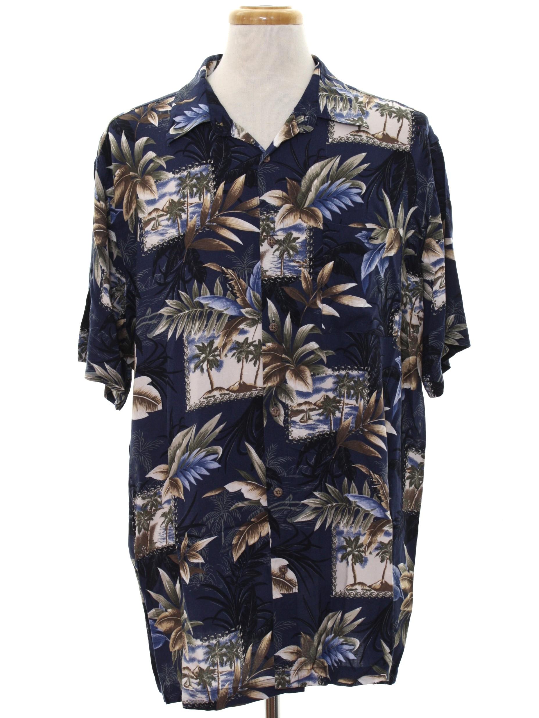 90e44259 Retro 1990's Hawaiian Shirt (David Taylor Collection) : 90s -David Taylor  Collection- Mens plum background, white, brown, black sand, tan, ...