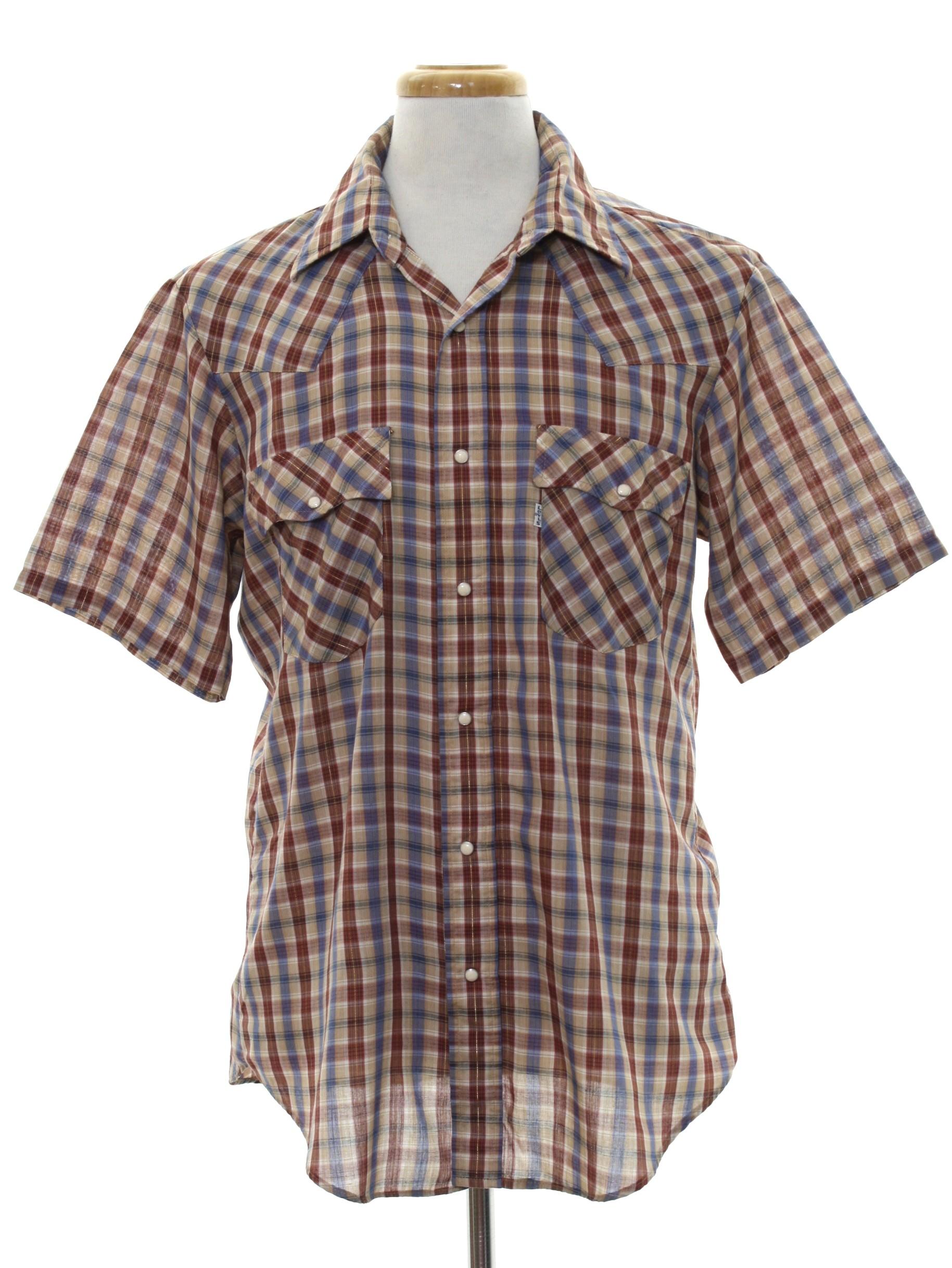 1980s Levis Western Shirt 80s Levis Mens Tan Burnt Orange Blue