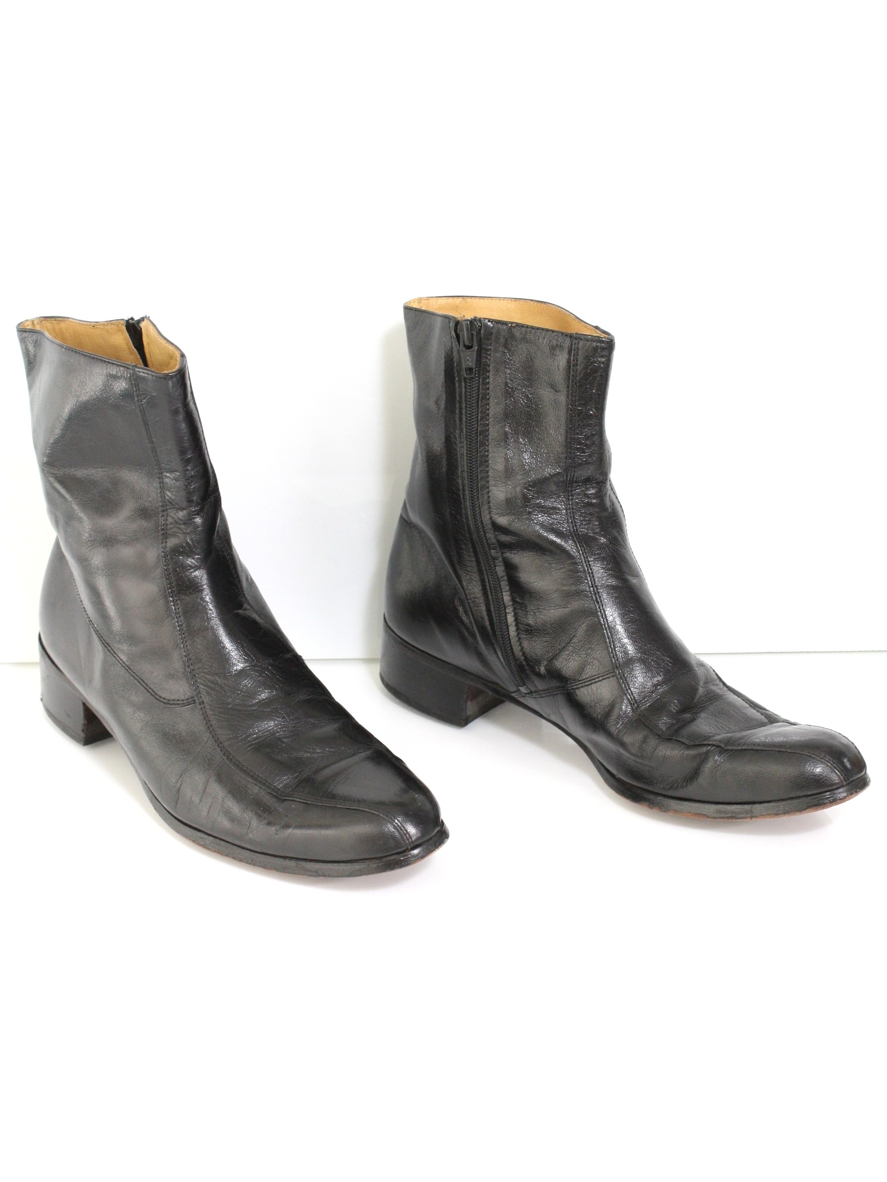 ecca44ddf57 Vintage Seventies Shoes: 70s -No Label- Mens black smooth leather ...