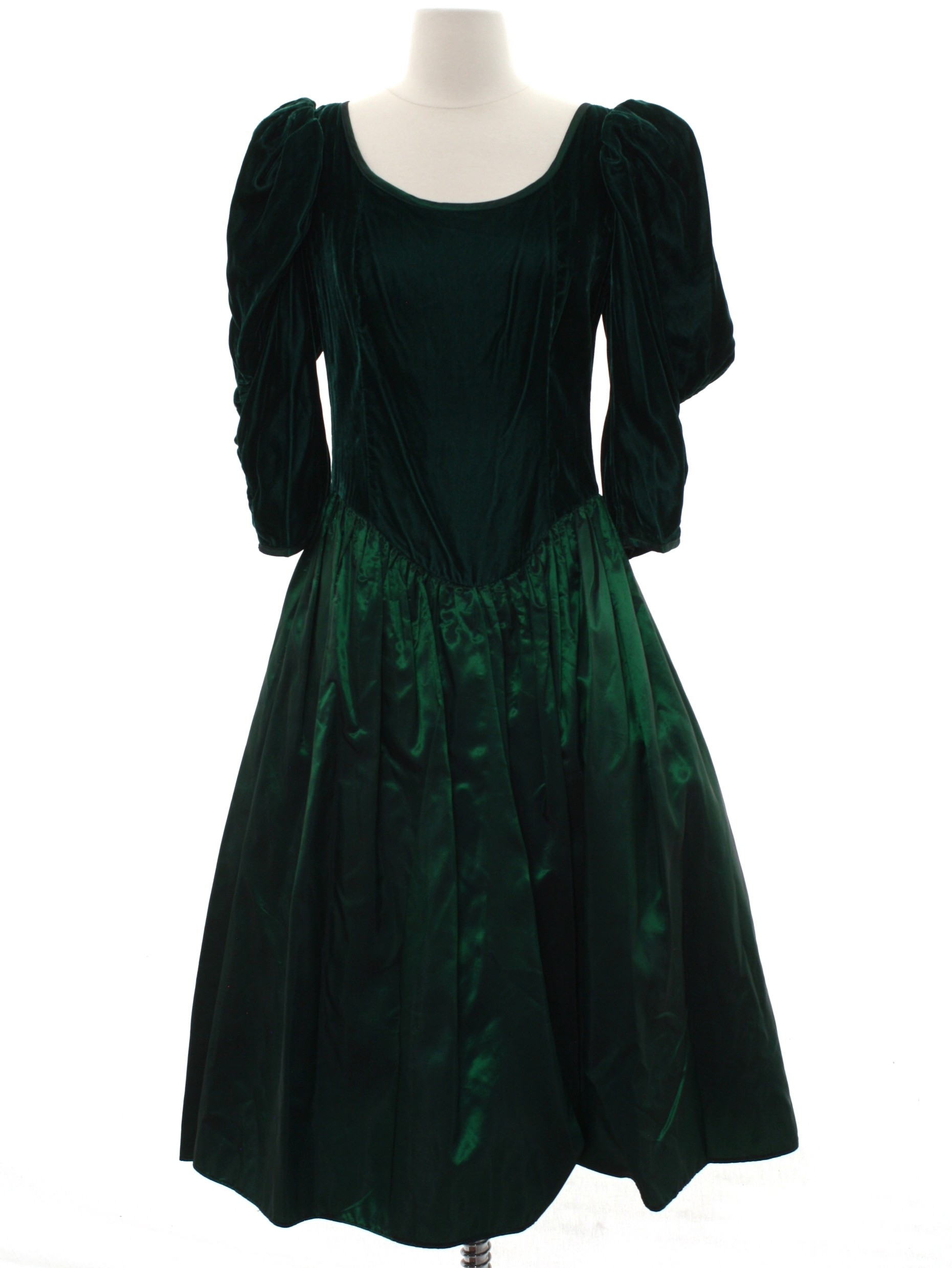 80\'s Vintage Cocktail Dress: 80s -Care Label- Womens dark green ...