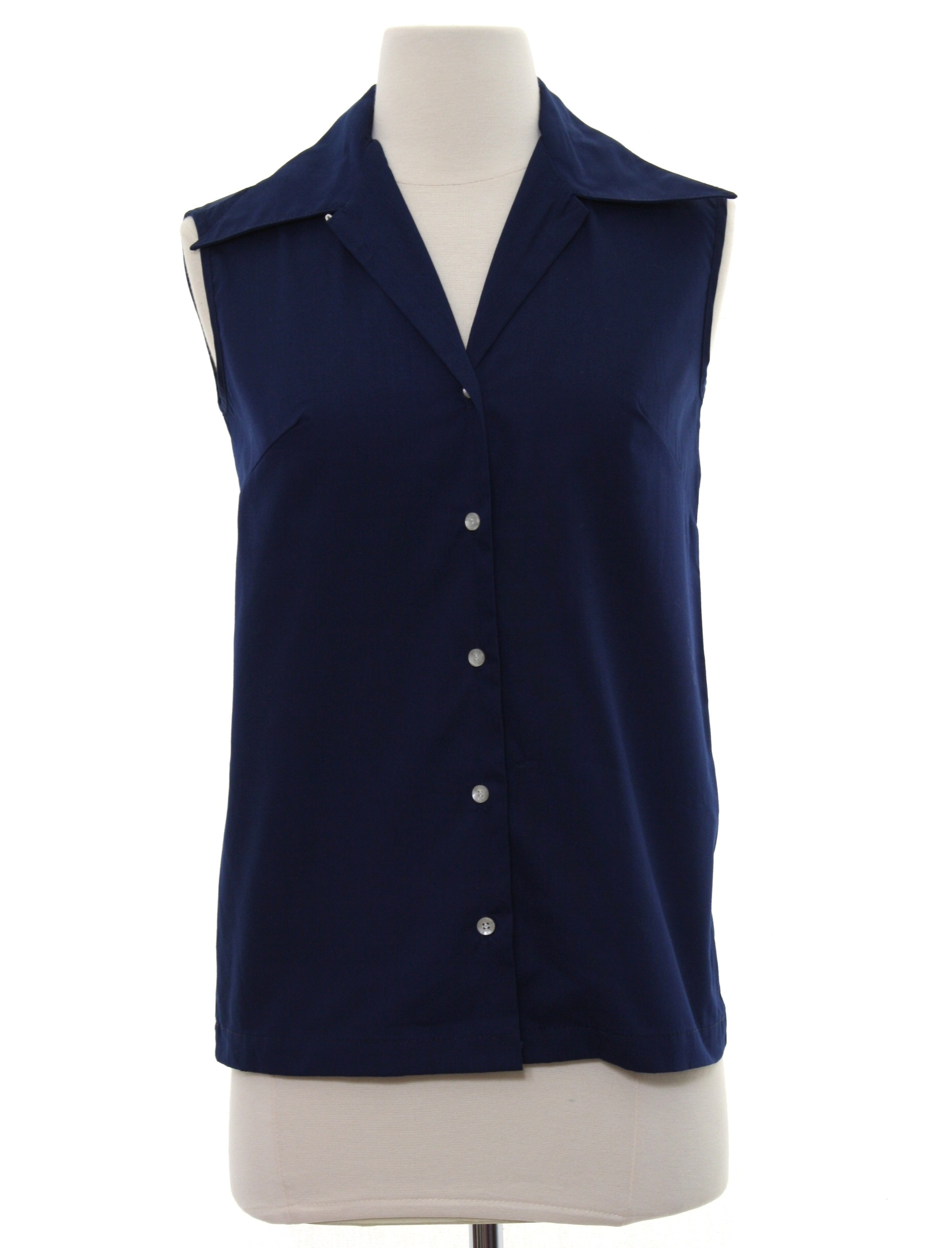 1960s Retro Shirt Late 60s Or Early 70s Sears Womens Navy Blue