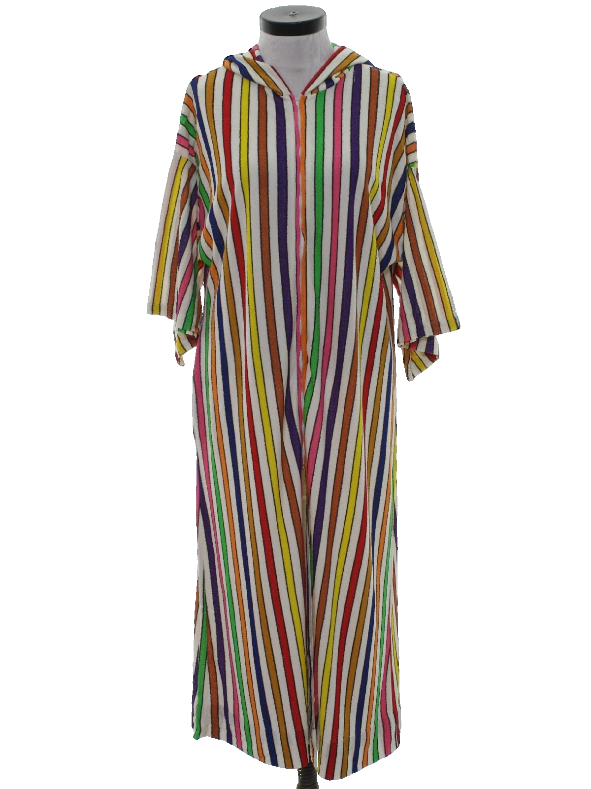55b92d7beaa8 Vintage Care Label Sixties Womens Maxi Terry Cloth Robe  60s -Care Label-  Womens white and rainbow stripe print background acrylic blend terry cloth  short ...