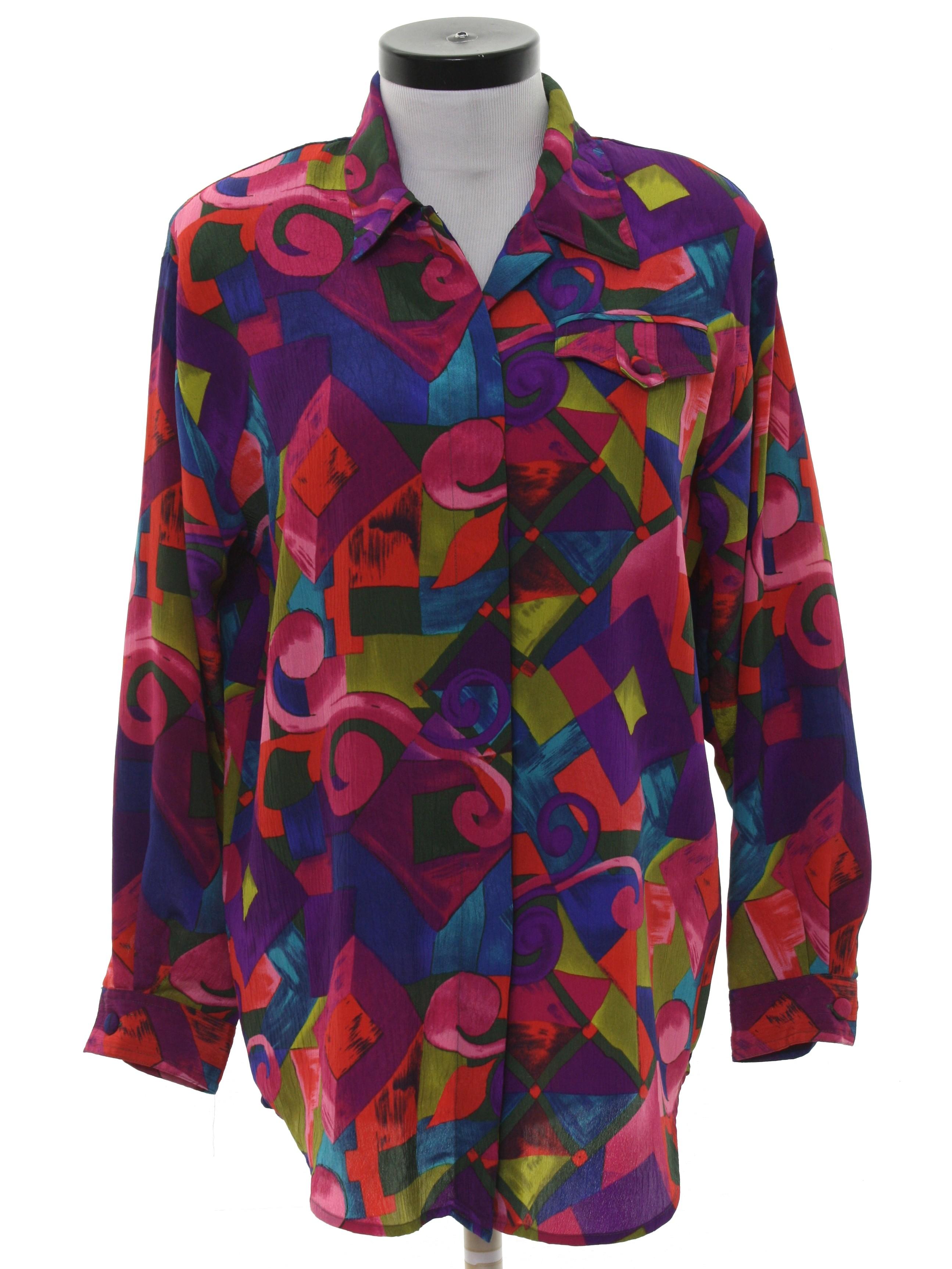 83e03404 80s Retro Shirt: 80s -Christie Jill- Womens multi color background ...