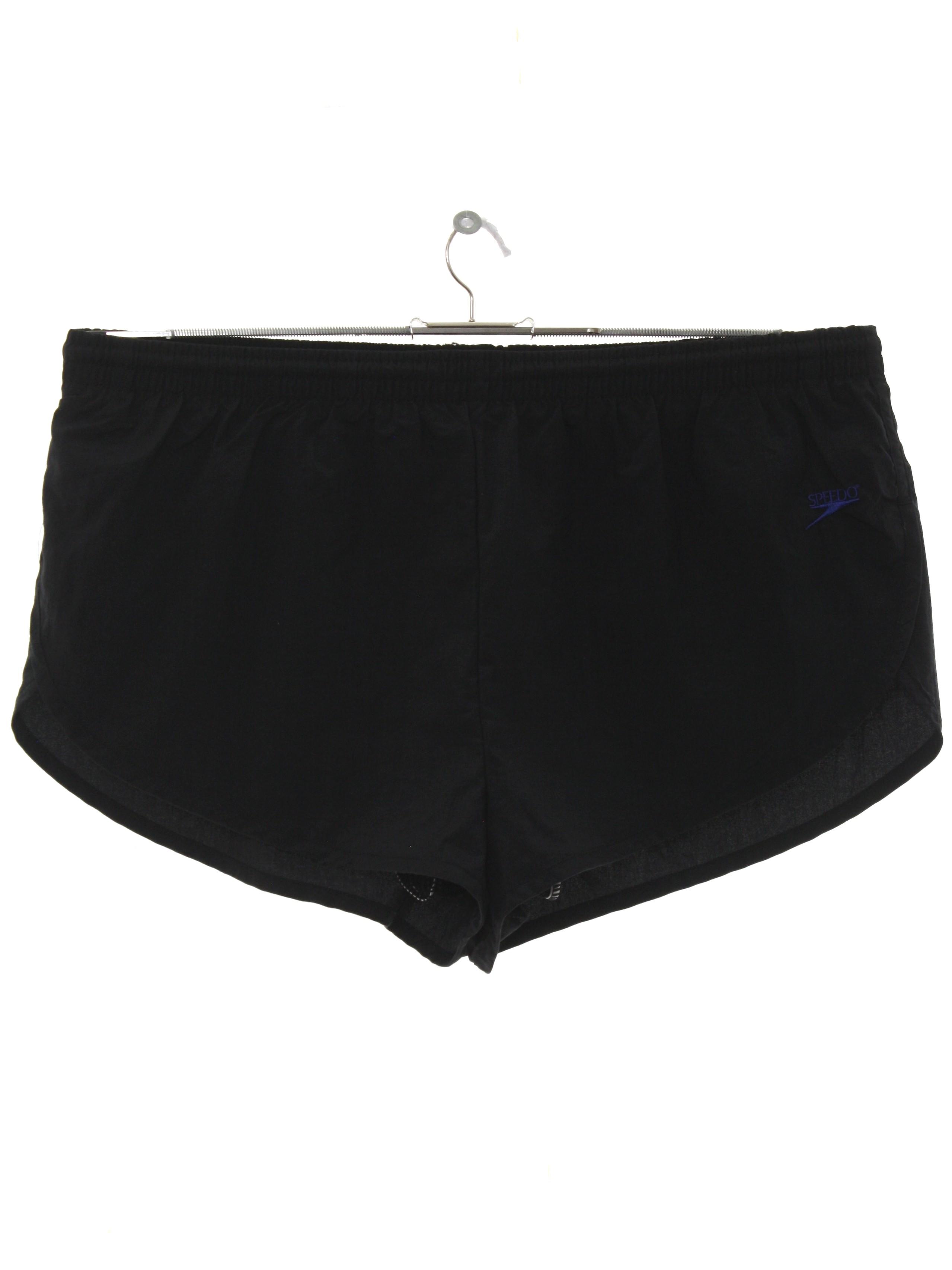 ec74db67de Vintage 1990's Swimsuit/Swimwear: 90s -Speedo- Mens black background nylon  wicked 90s swim shorts with elastic drawstring waistband, full mesh  polyester ...