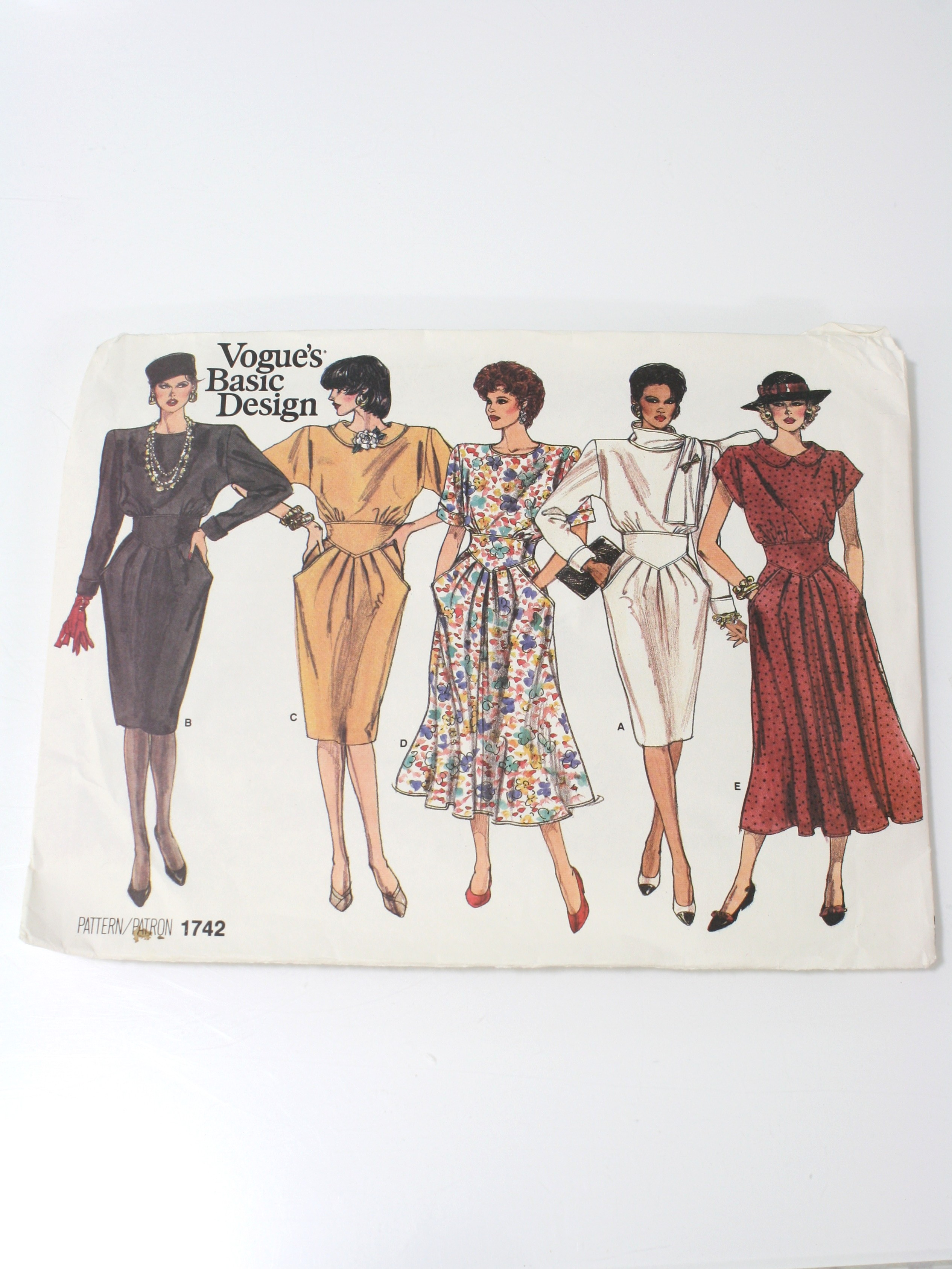 Vintage 70s Sewing Pattern 70s Vogue Basic Design Pattern No 1742 Womens Dress Has Skirt With Pockets Gathered Into Fitted Bodice Neckline And Sleeve Variations With Back Zipper Closing Pattern Is Uncut
