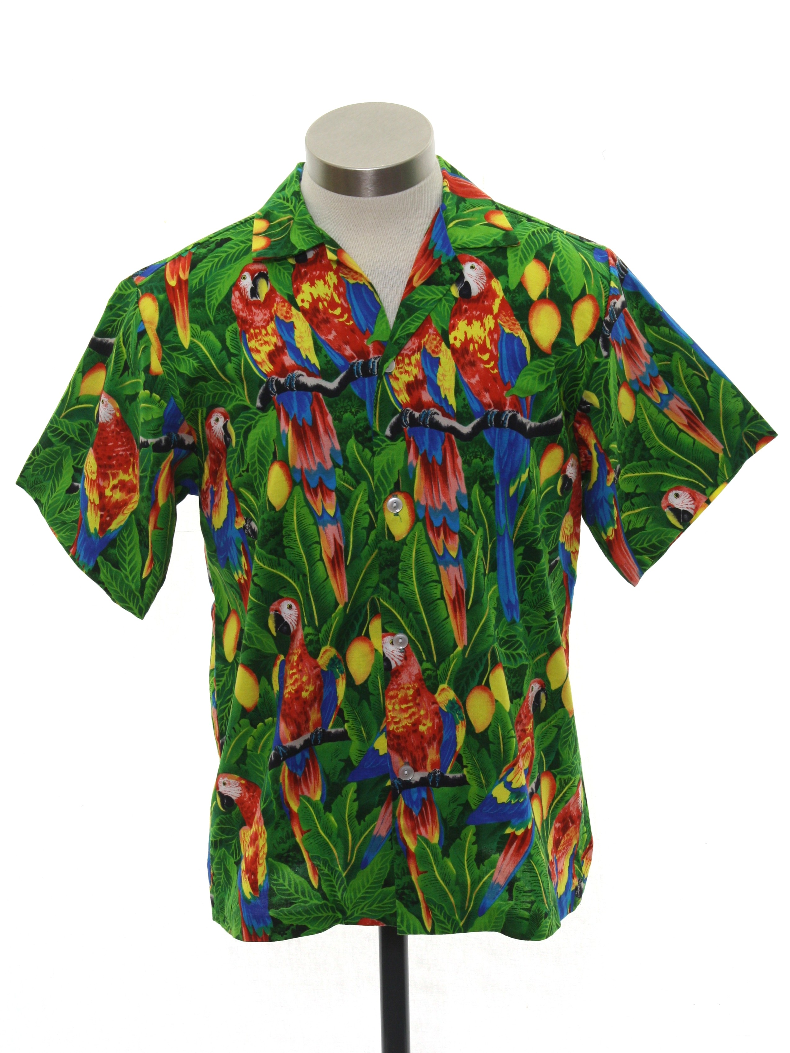 6007fb10d 80s Hawaiian Shirt (Hilo Hattie): 80s -Hilo Hattie- Mens green ...