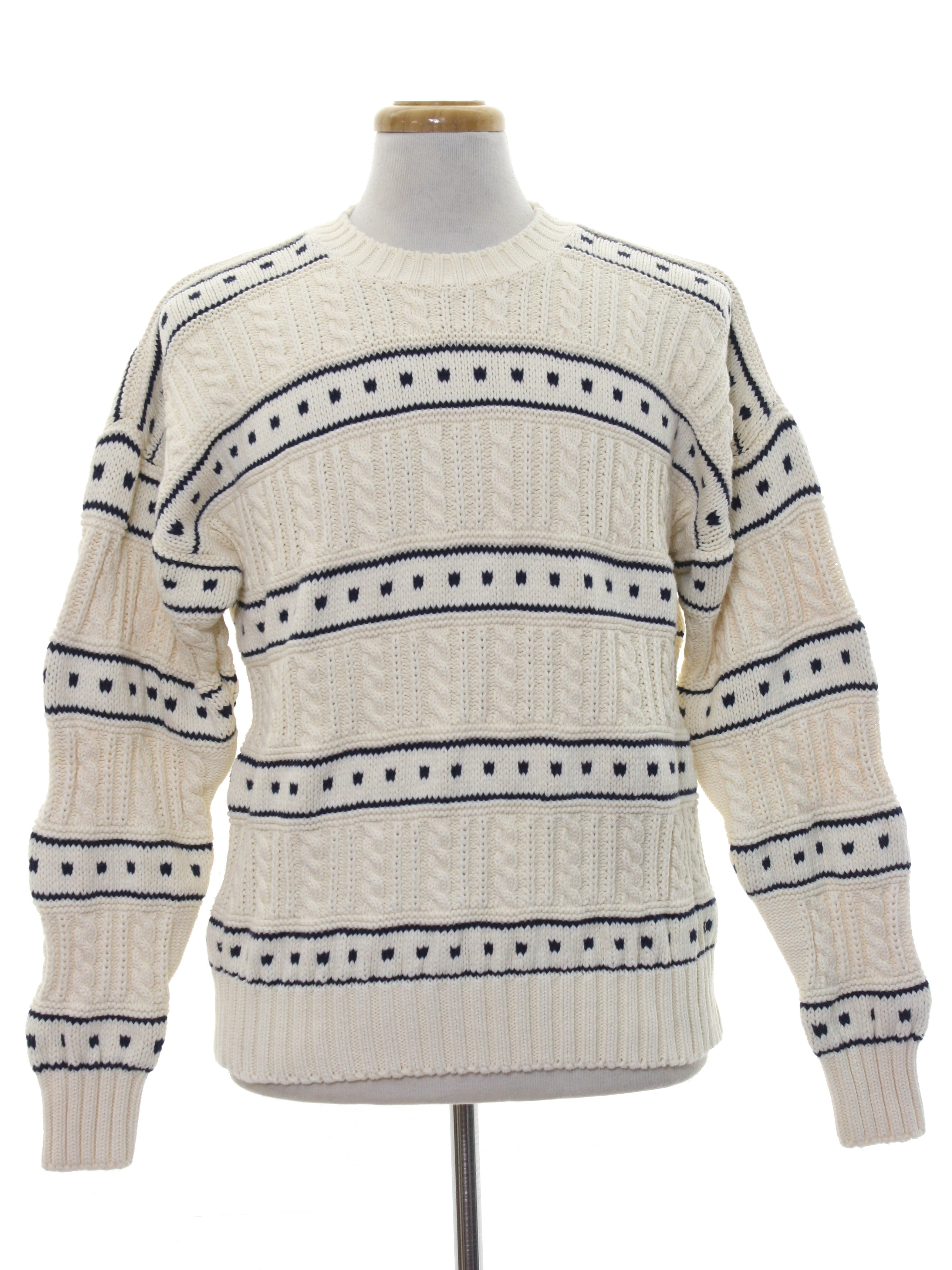 80s Vintage Nile Sweater: Late 80s -Nile- Mens cream with midnight ...