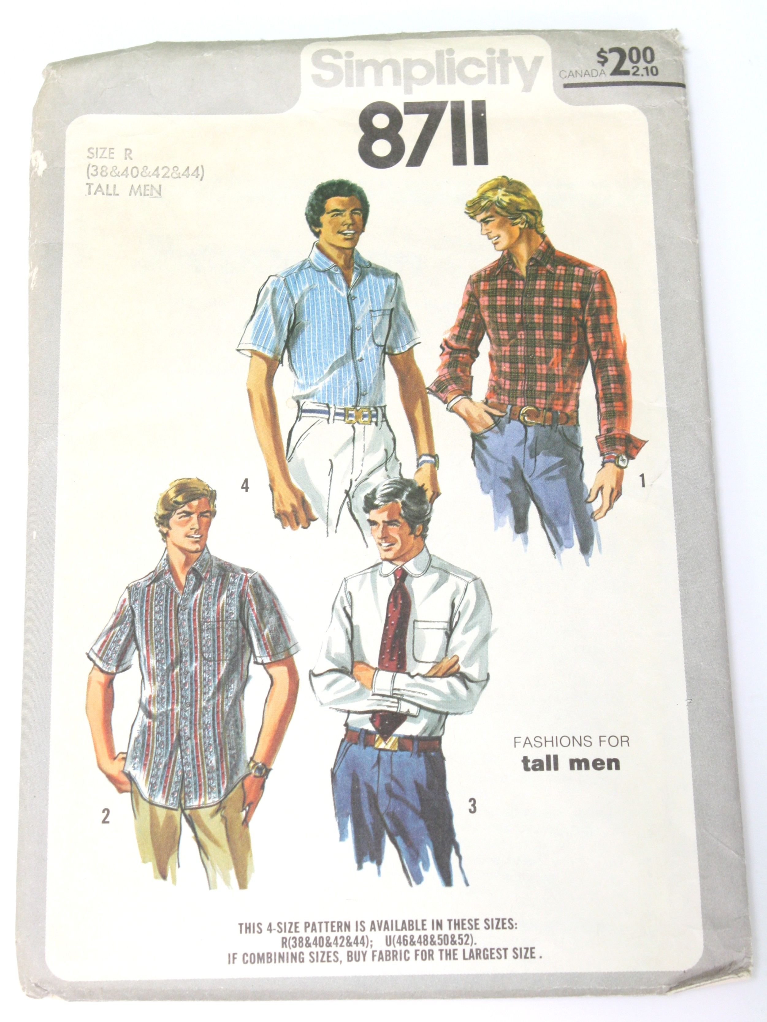 8a68f0dddcc6 70s Retro Sewing Pattern  70s -Simplicity Pattern No. 8711- Mens ...