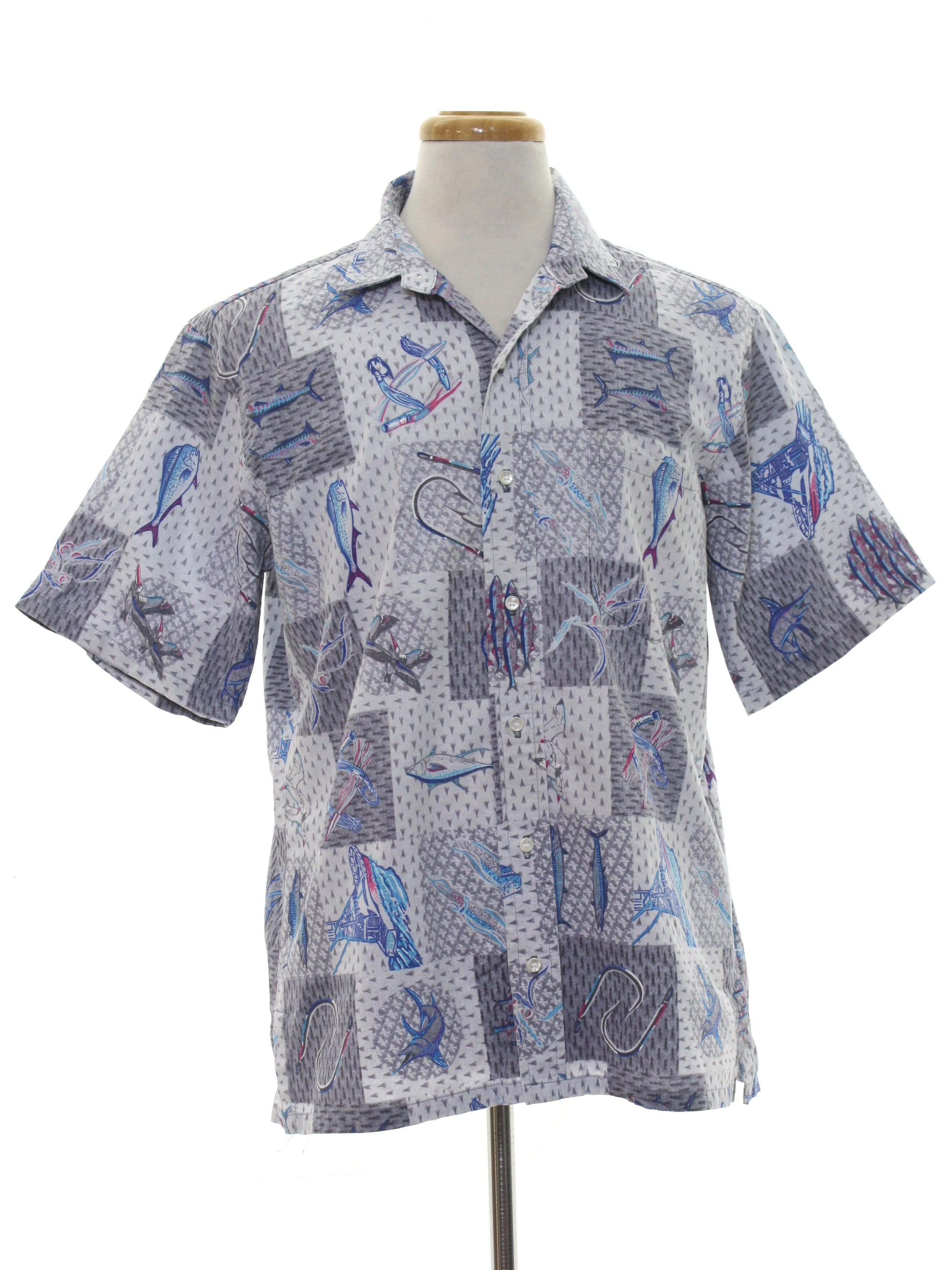 16dd3891 Vintage Blue Water Wear Eighties Hawaiian Shirt: 80s -Blue Water ...