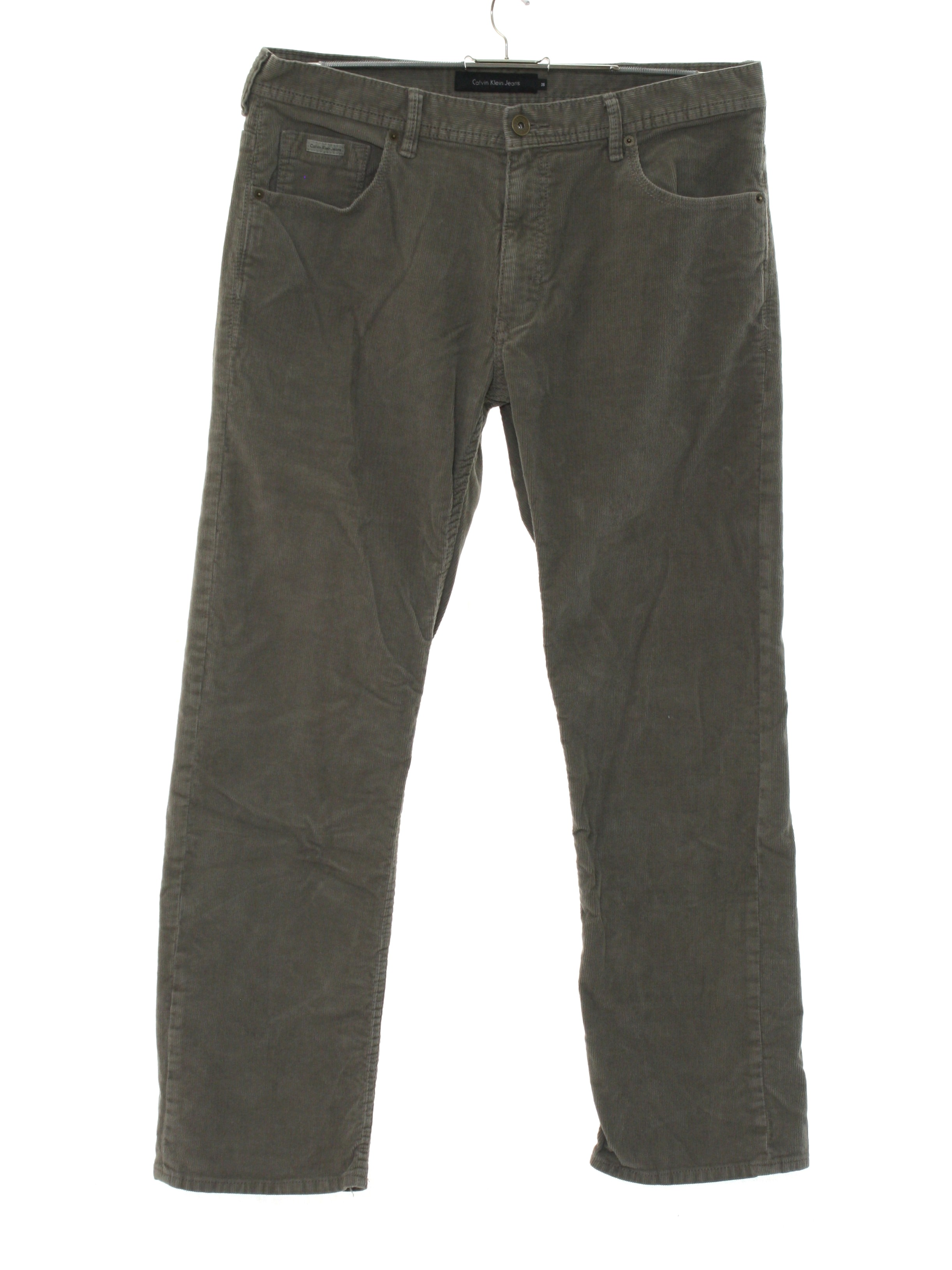 81b495b2 Pants: 90s -Calvin Klein Jeans- Mens grey solid colored cotton blend ...